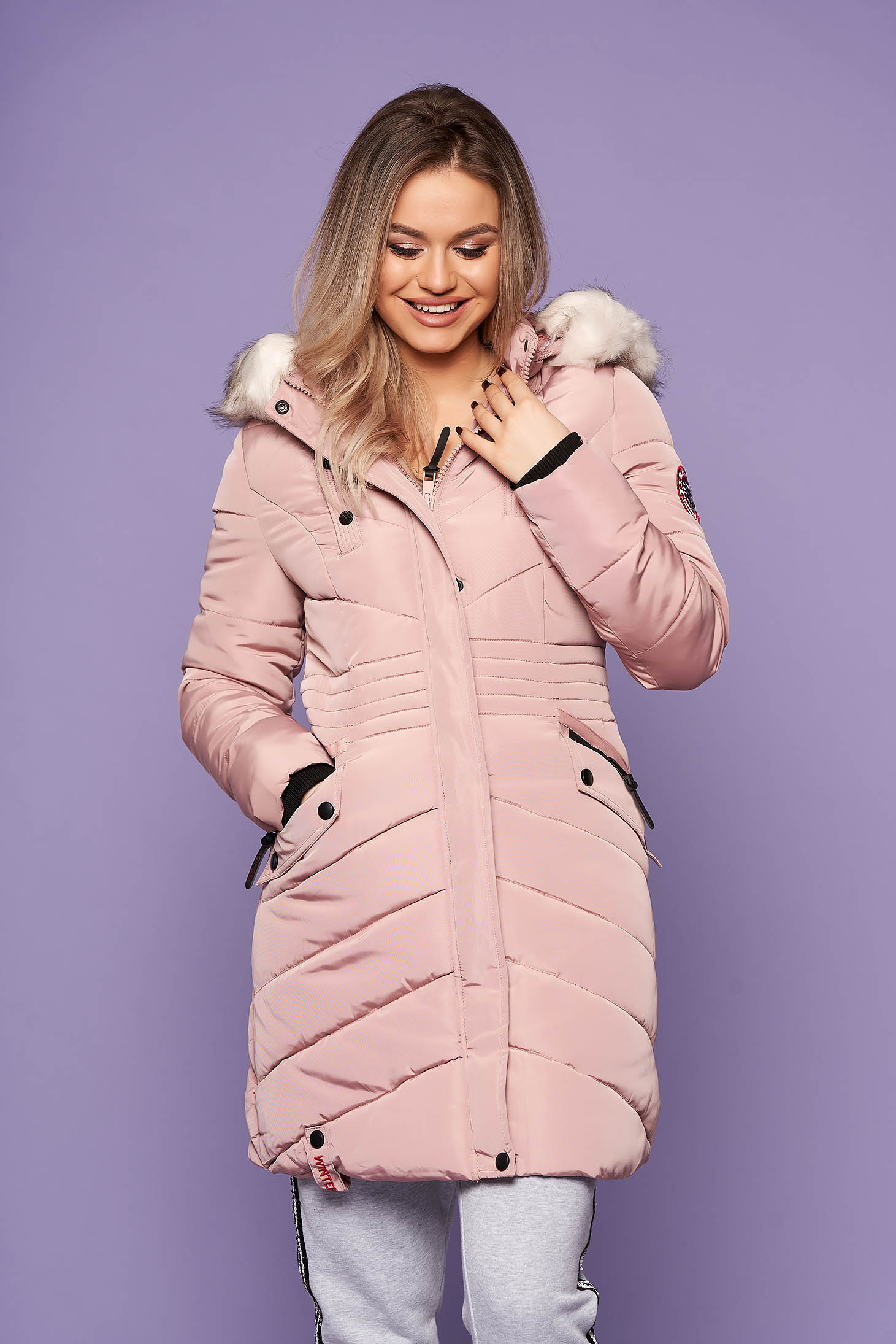 Lightpink jacket casual from slicker with pockets long sleeve with furry hood