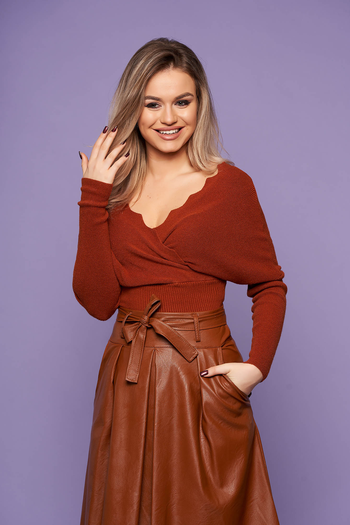 Brown women`s blouse casual short cut with v-neckline knitted arched cut long sleeved