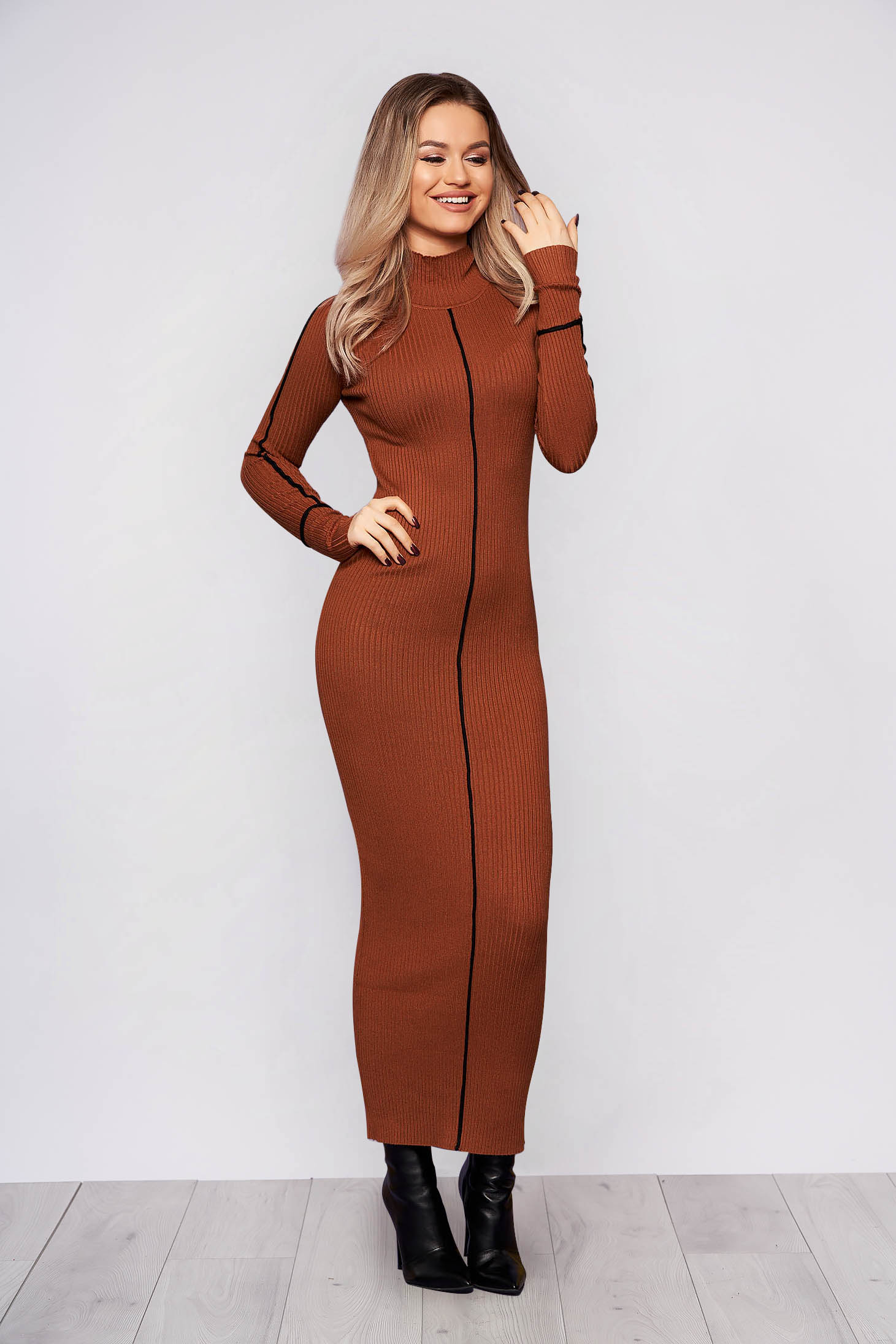 Brown dress casual daily long pencil with turtle neck knitted arched cut