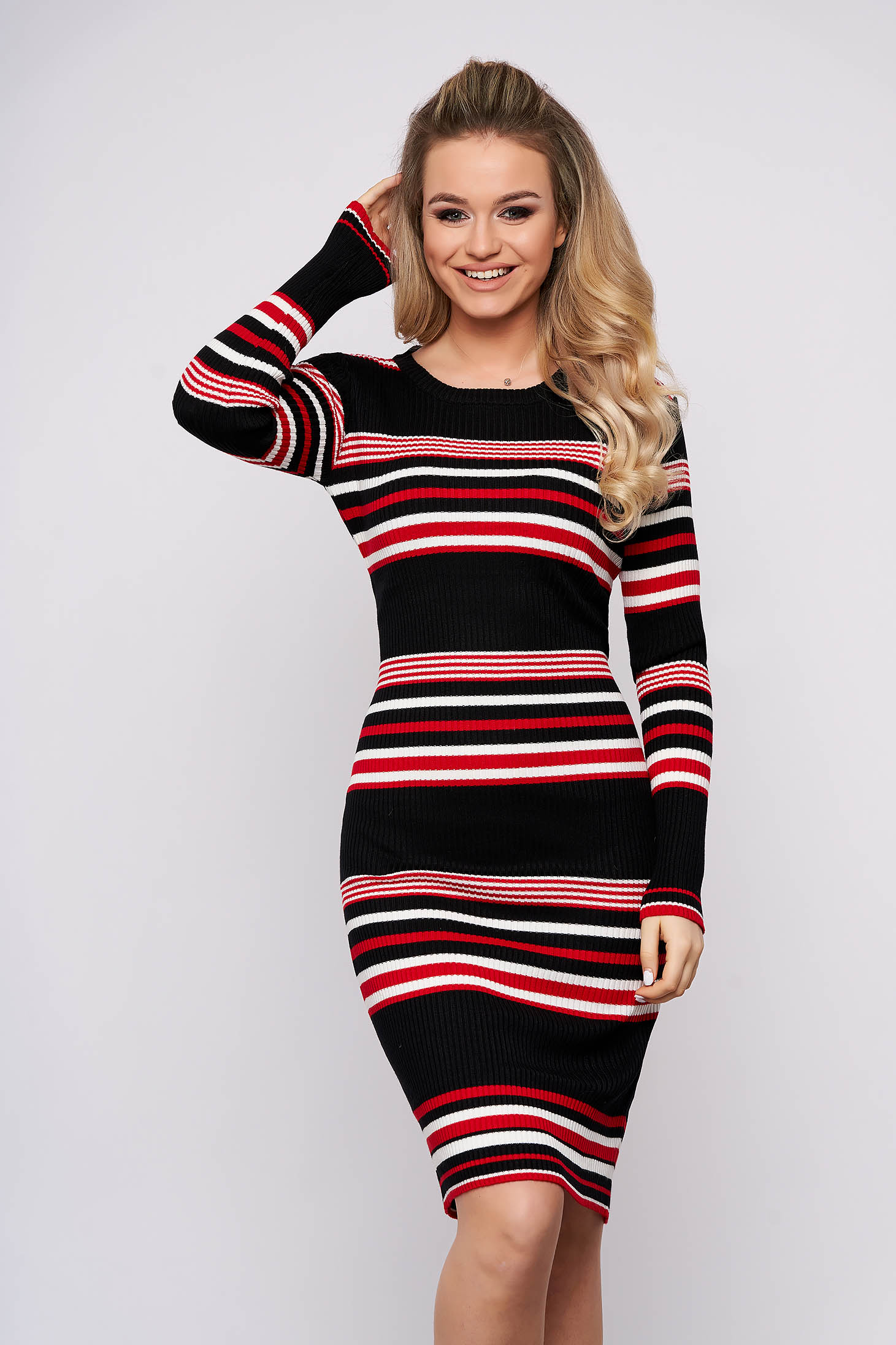 Black dress casual daily midi pencil knitted fabric long sleeved