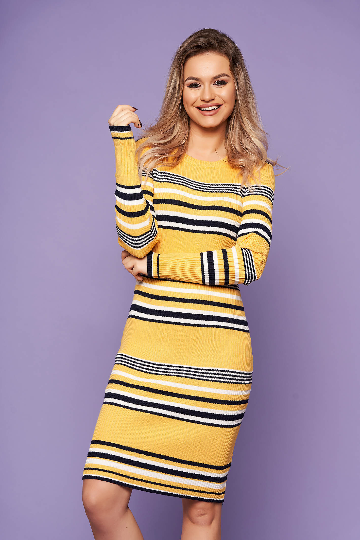 Yellow dress casual daily midi pencil knitted fabric long sleeved horizontal stripes