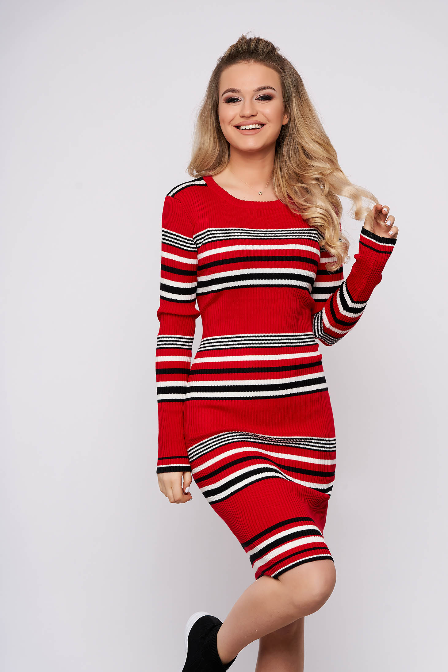 Red dress casual daily midi pencil knitted fabric long sleeved horizontal stripes