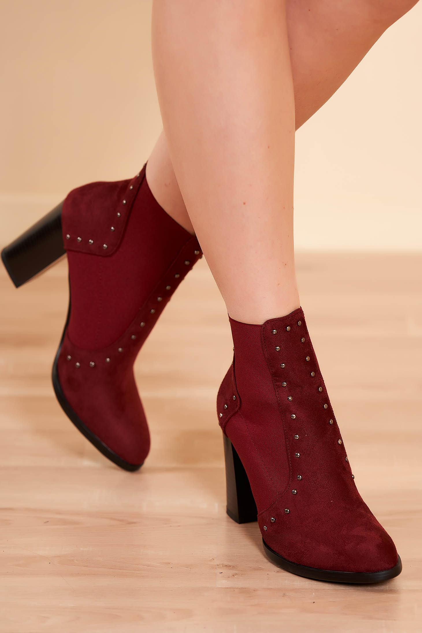 Ankle boots burgundy elegant from ecological leather chunky heel slightly round toe tip with metallic spikes