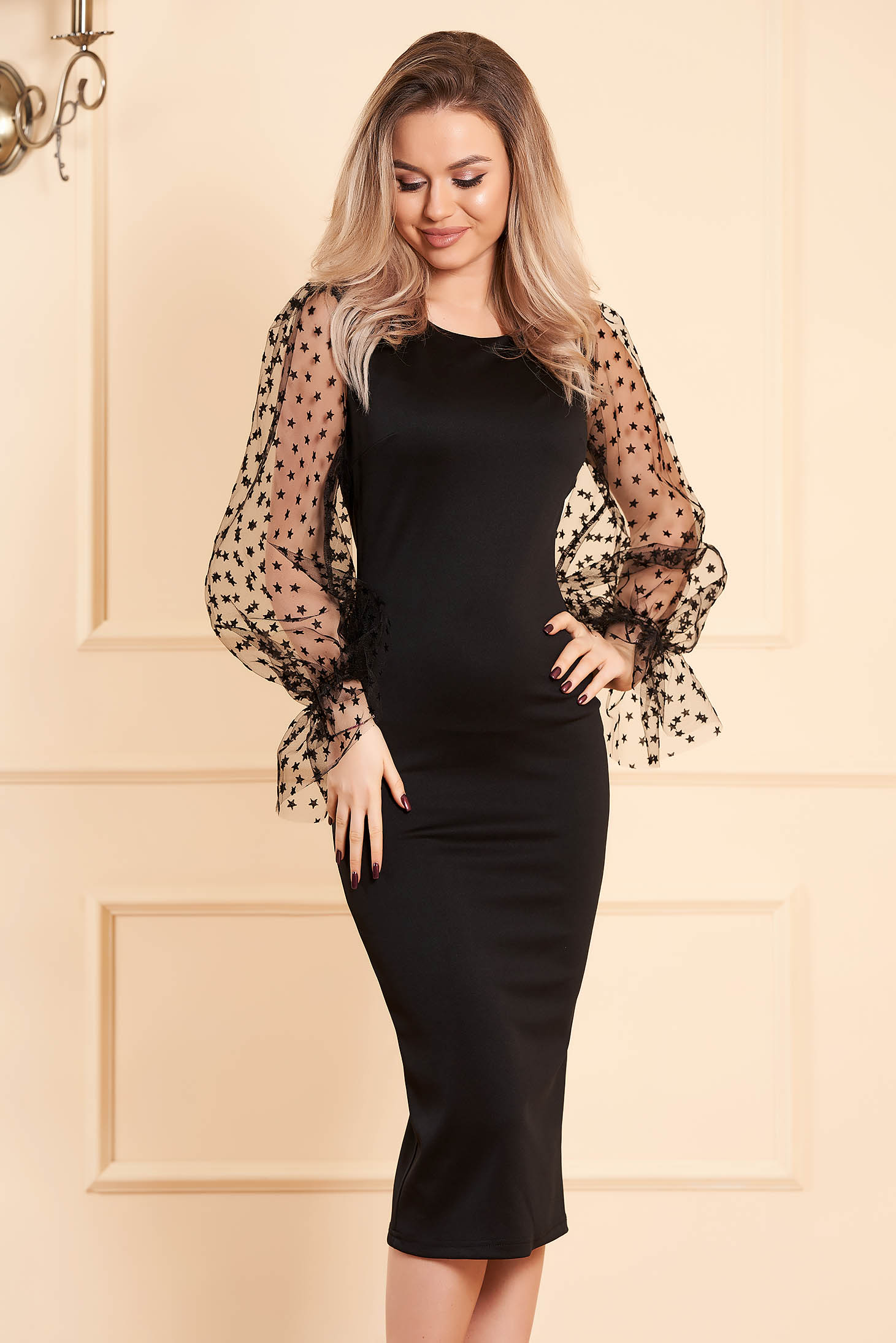 Black dress midi pencil with rounded cleavage slightly elastic fabric long sleeved transparent sleeves occasional