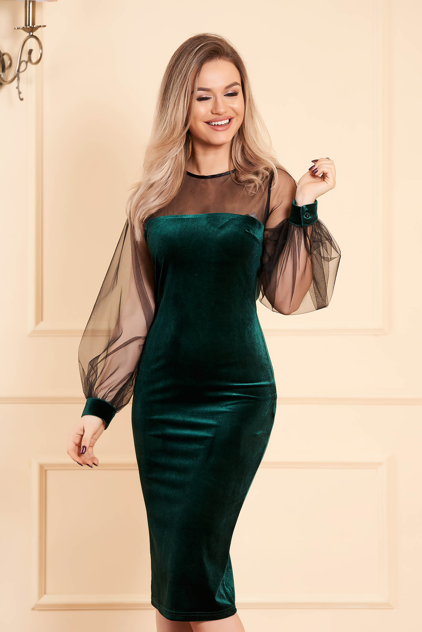 Green dress occasional midi pencil velvet long sleeved transparent sleeves