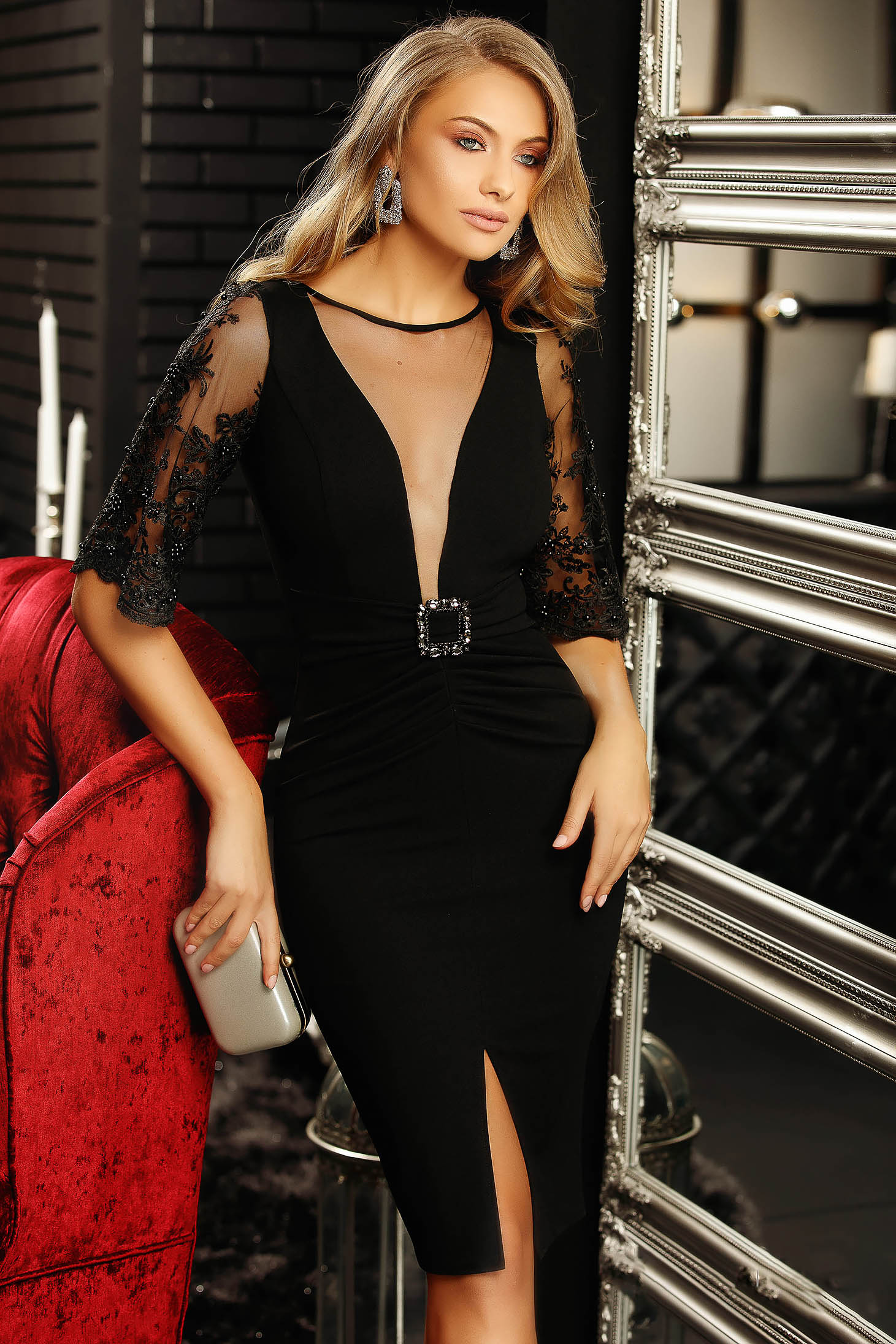 Black dress occasional with deep cleavage with 3/4 sleeves lace and crystal embellished details buckle accessory