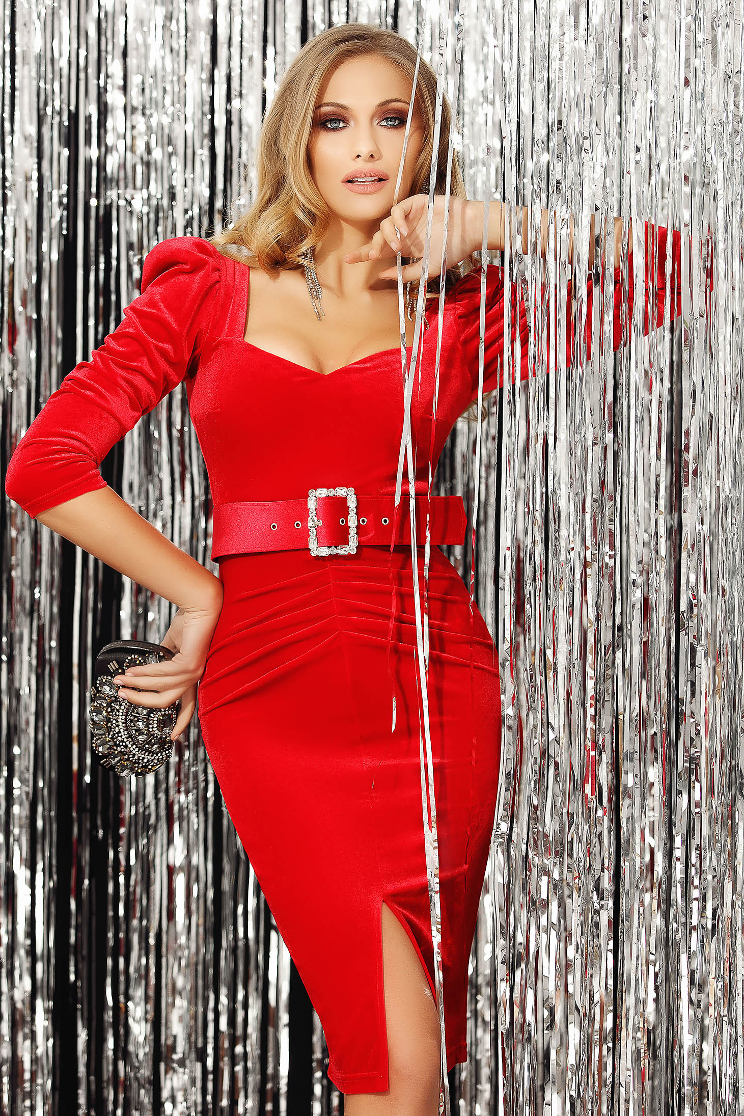 Red dress occasional high shoulders with v-neckline with 3/4 sleeves slit velvet