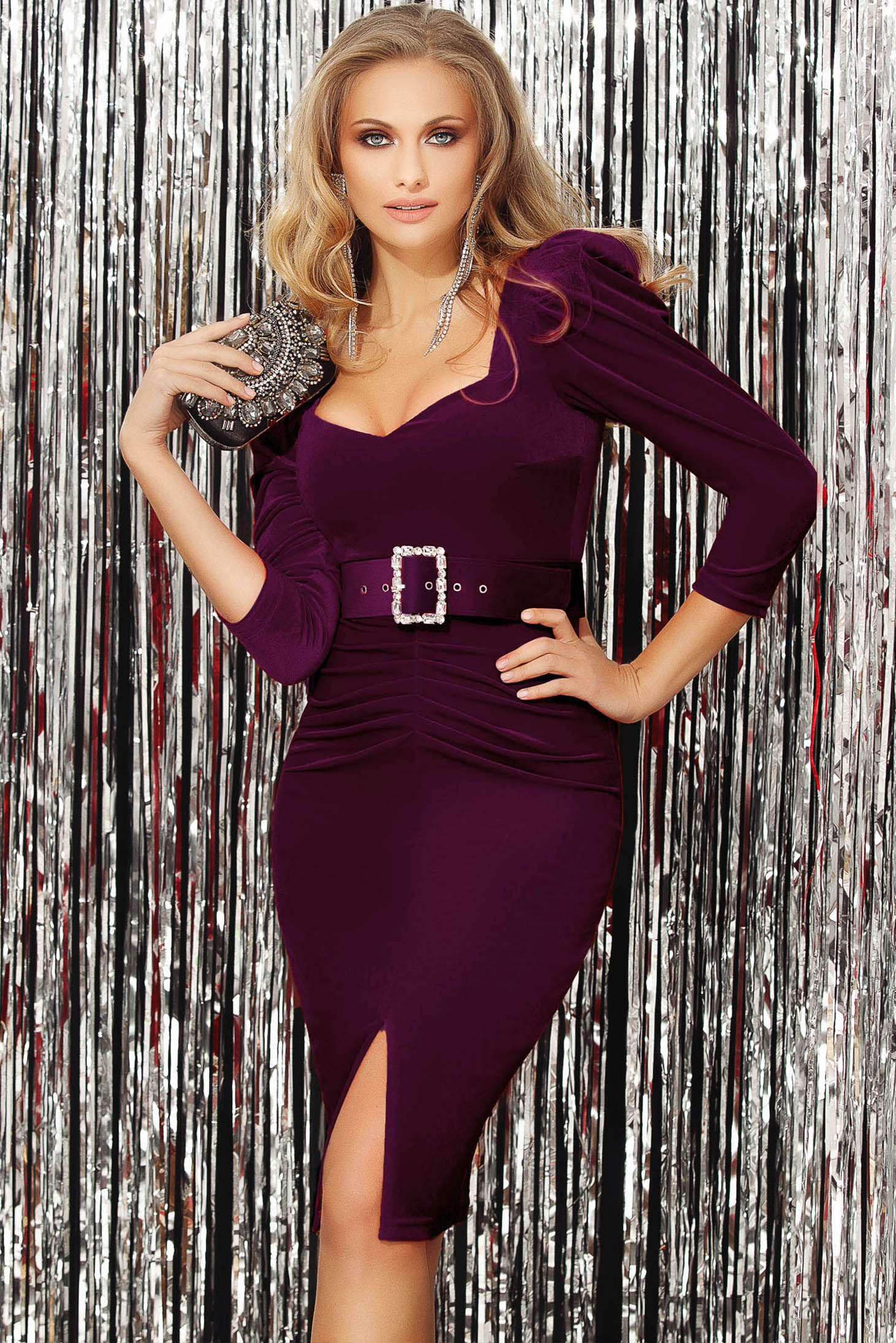 Purple dress occasional high shoulders with v-neckline with 3/4 sleeves slit velvet