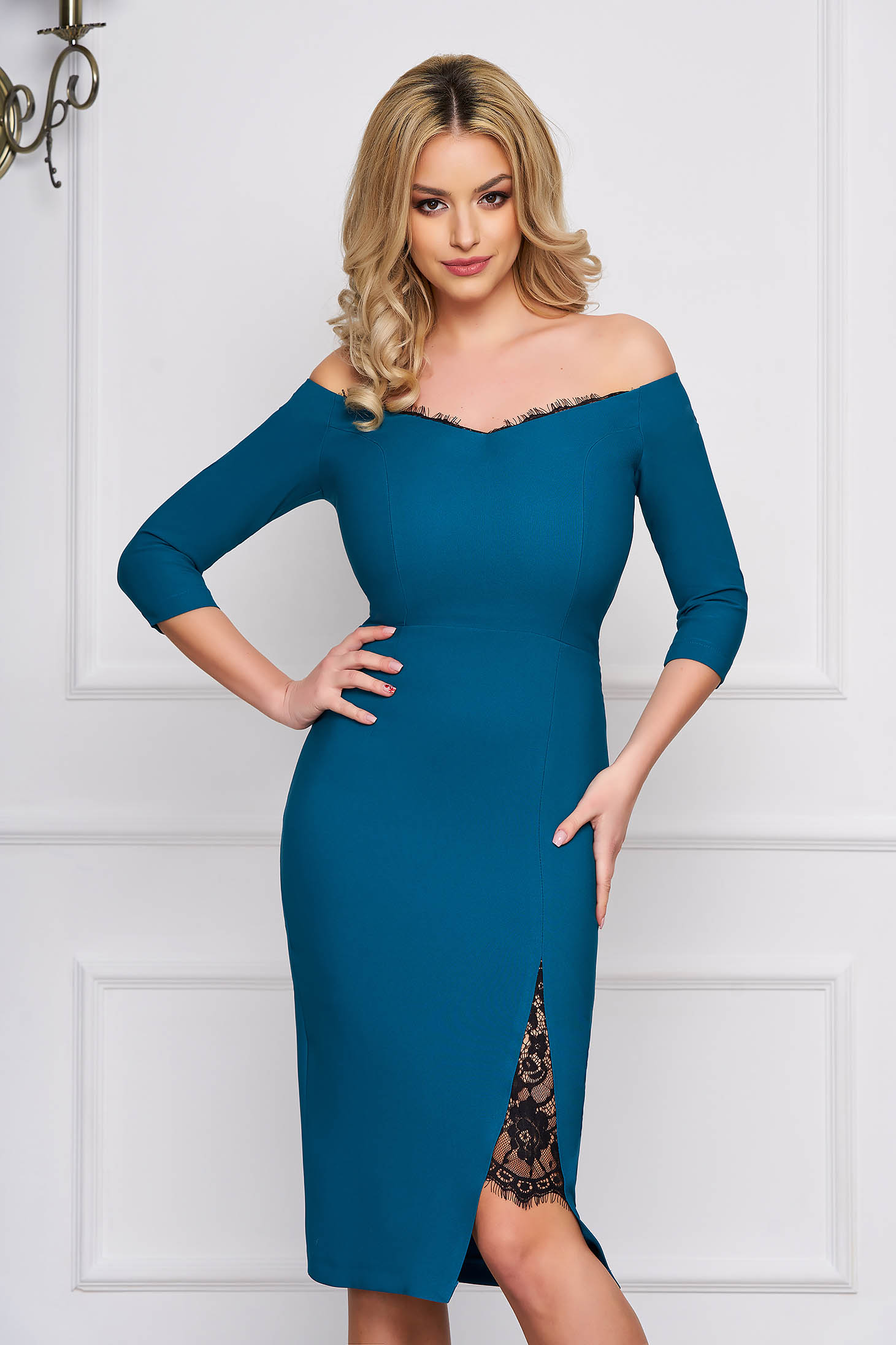 StarShinerS turquoise dress elegant midi pencil cloth thin fabric with 3/4 sleeves naked shoulders with lace details