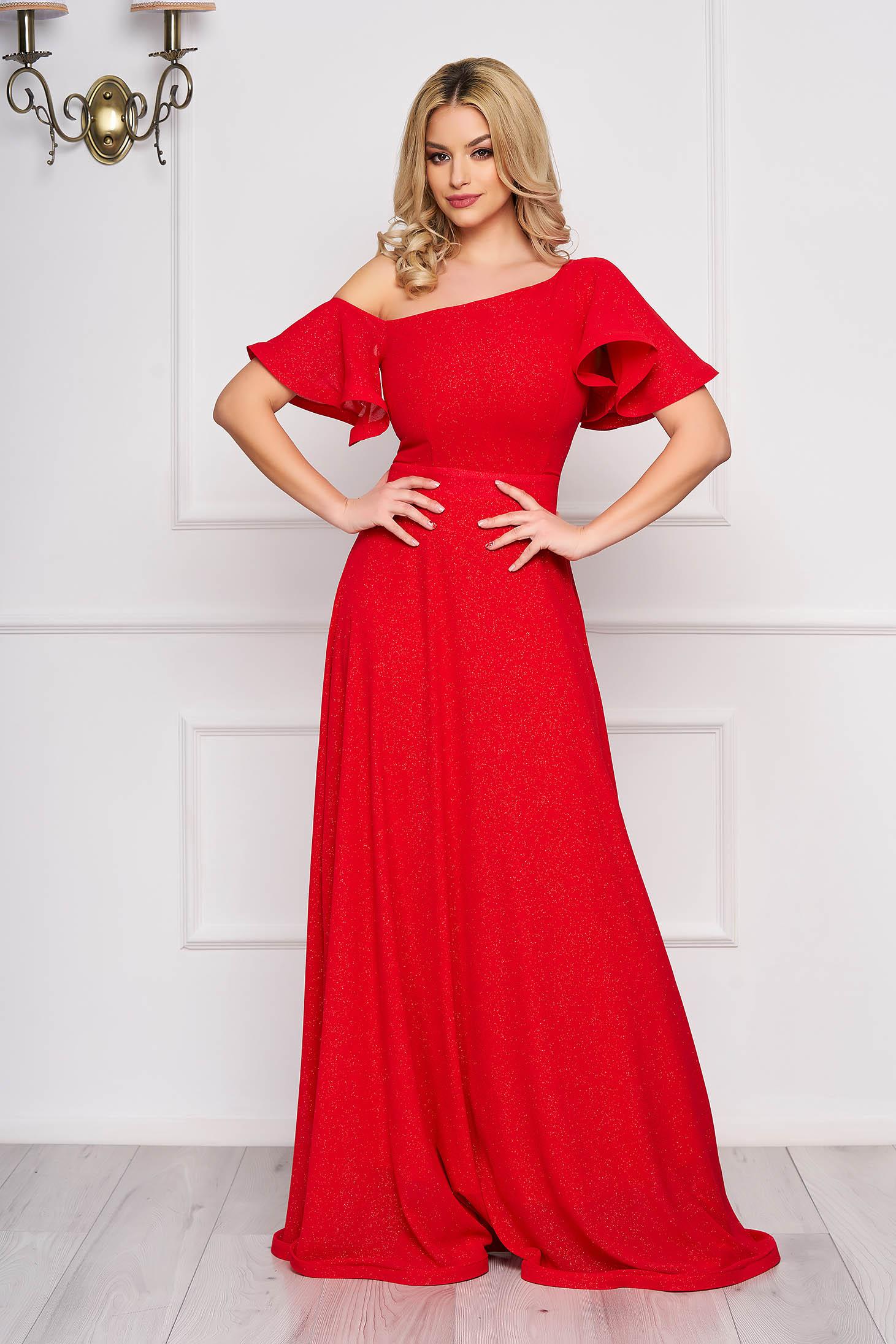 Piros StarShinerS hosszú alkalmi harang ruha muszlinból egy vállas