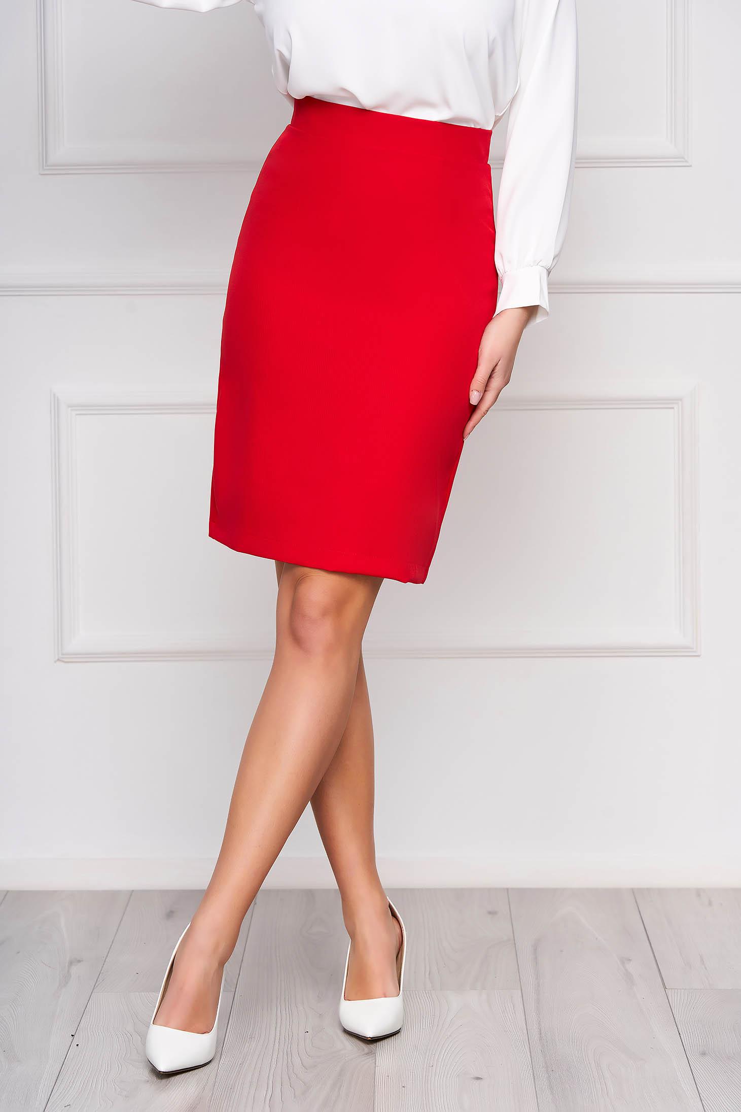 Piros StarShinerS irodai egyenes magas derekú szoknya enyhén rugalmas szövetből béléssel