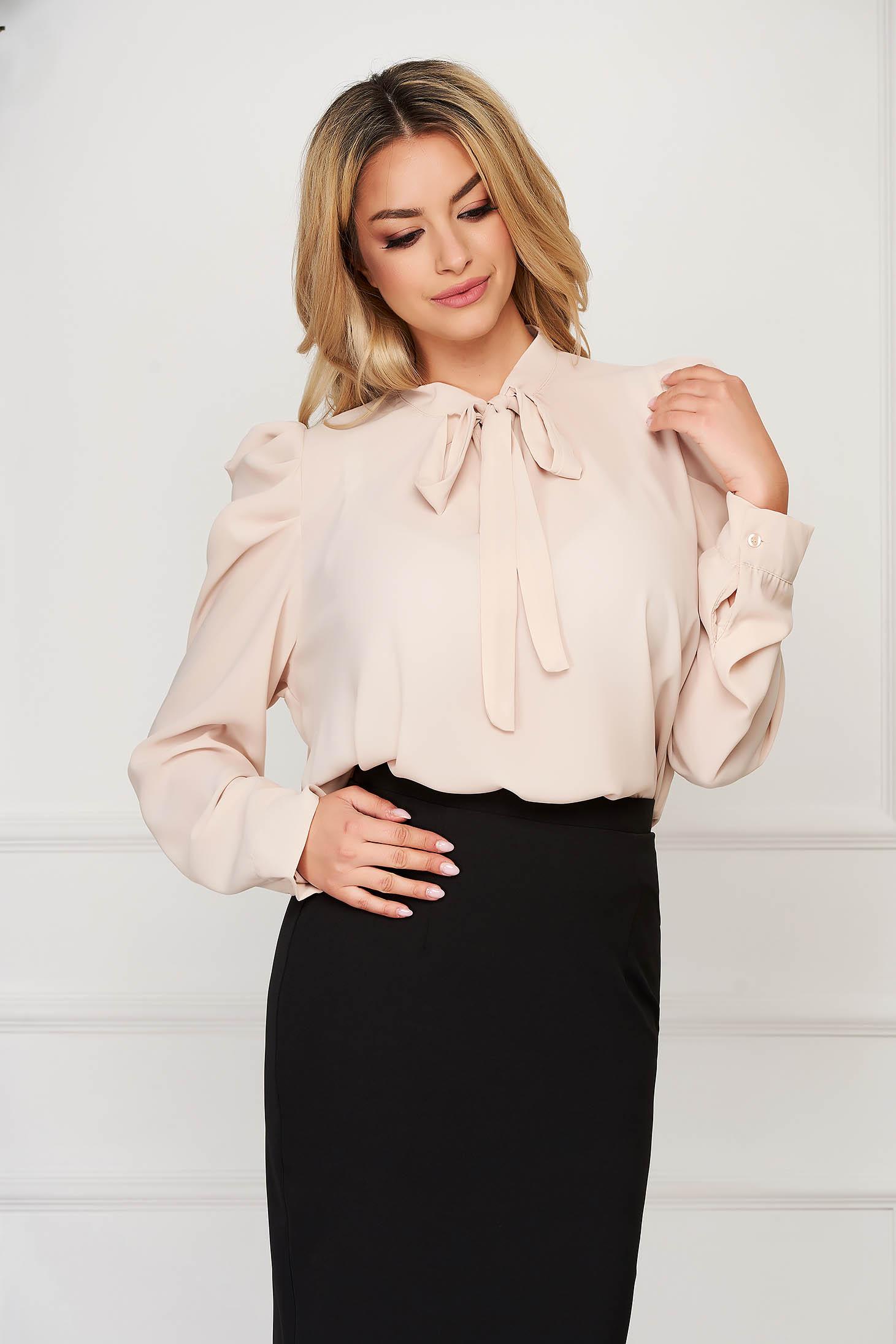 Cream women`s shirt office long sleeved from veil fabric short cut flared
