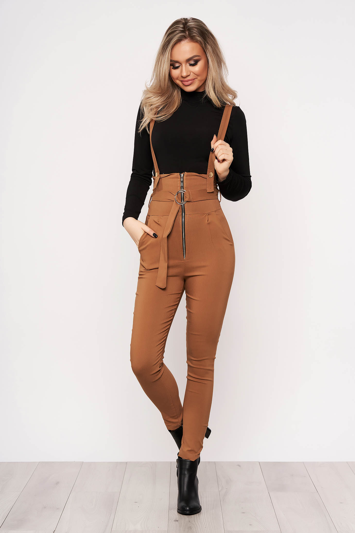 Brown jumpsuit casual stretch with an accessory zippers