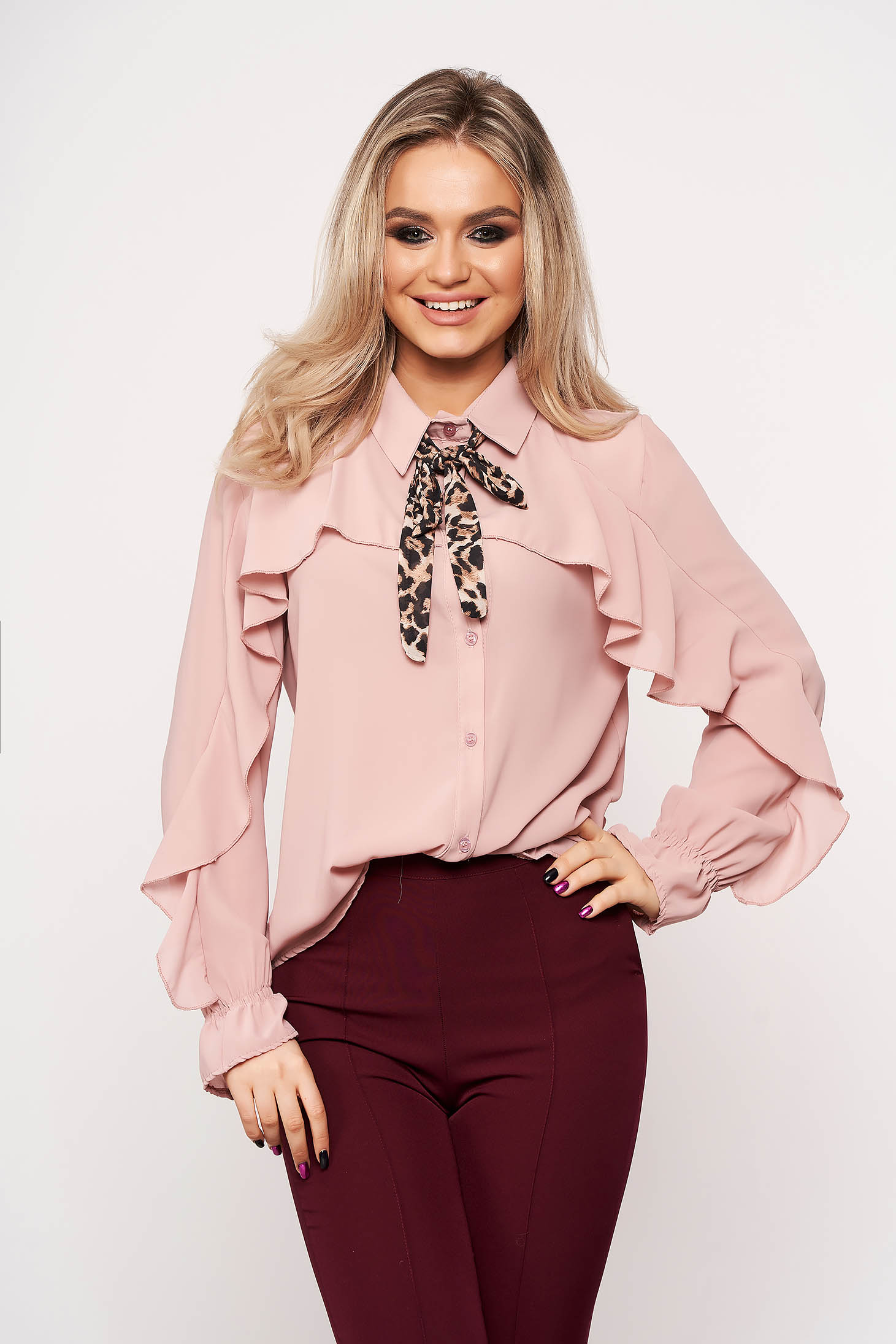 Lightpink women`s shirt bow accessory office animal print