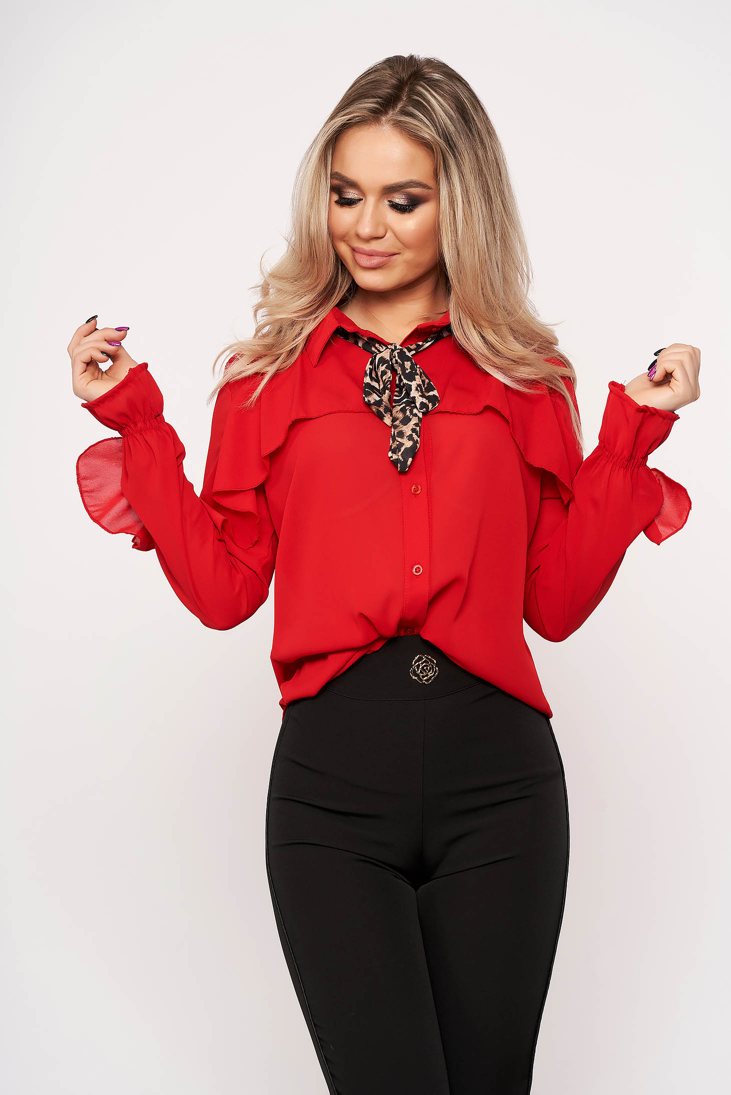 Red women`s shirt bow accessory office animal print