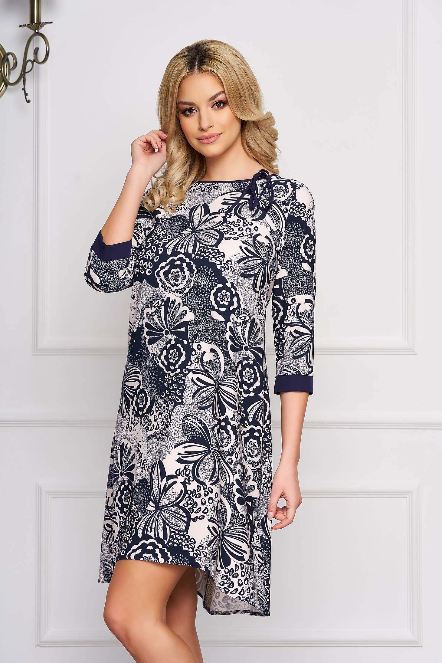 StarShinerS darkblue dress daily scuba with 3/4 sleeves bow accessory without clothing