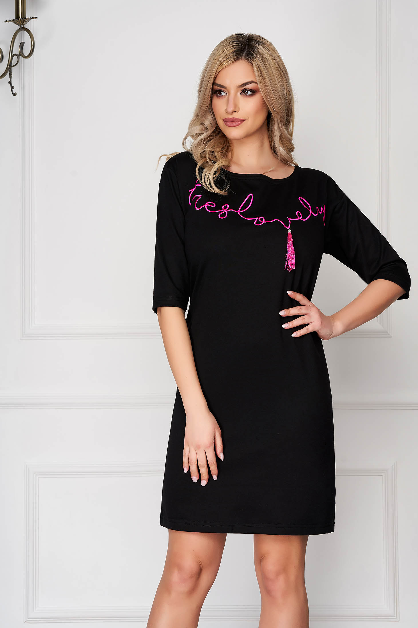 StarShinerS black dress daily with tassels cotton short cut flared cut without clothing with 3/4 sleeves