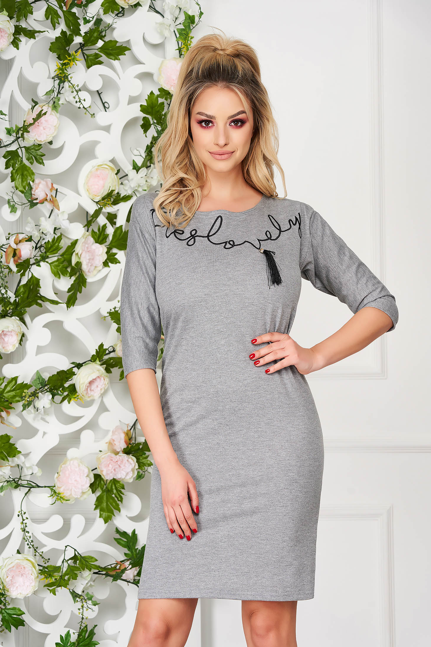 StarShinerS grey dress daily with tassels cotton short cut flared cut without clothing with 3/4 sleeves
