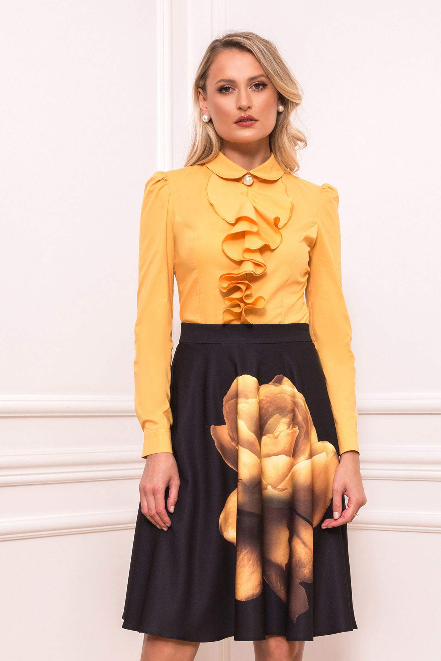 Yellow skirt elegant cloche with floral prints