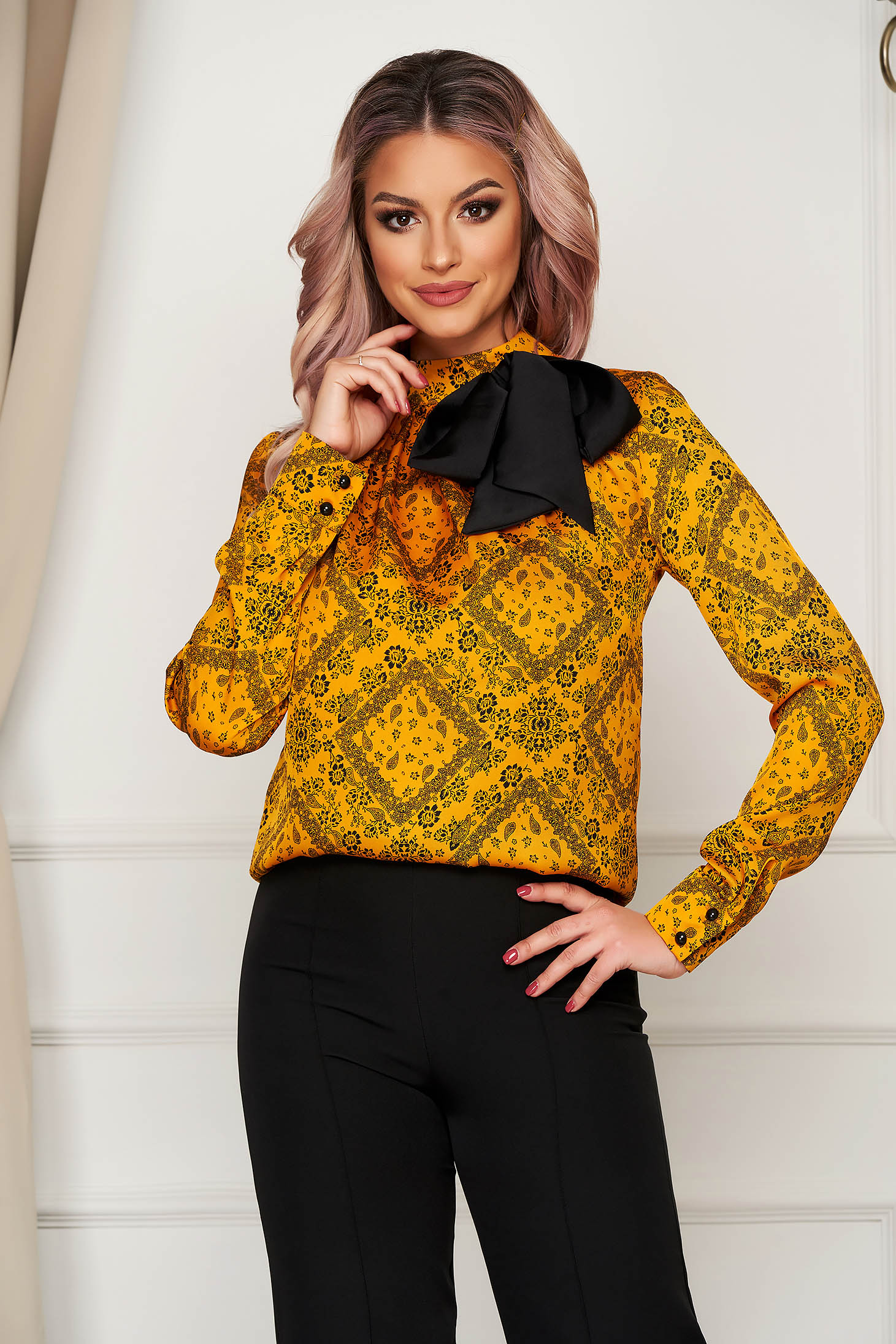 Mustard women`s blouse with bow turtleneck office