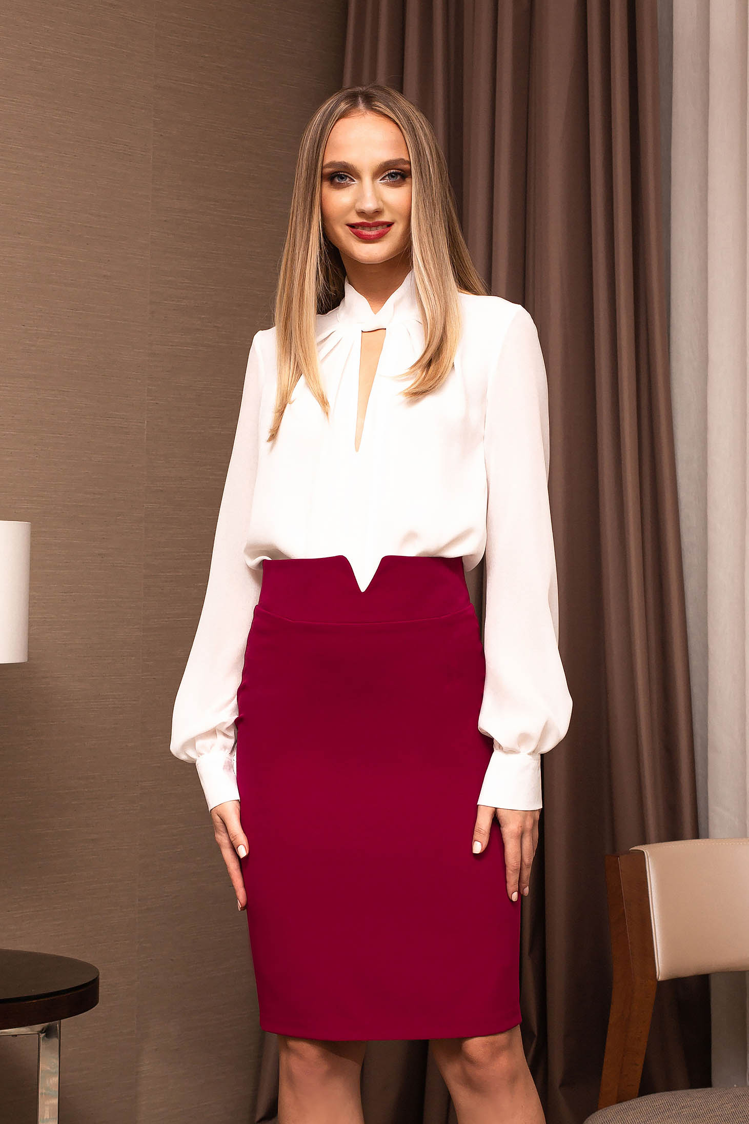 White women`s blouse office cut-out bust design short cut from veil fabric flared