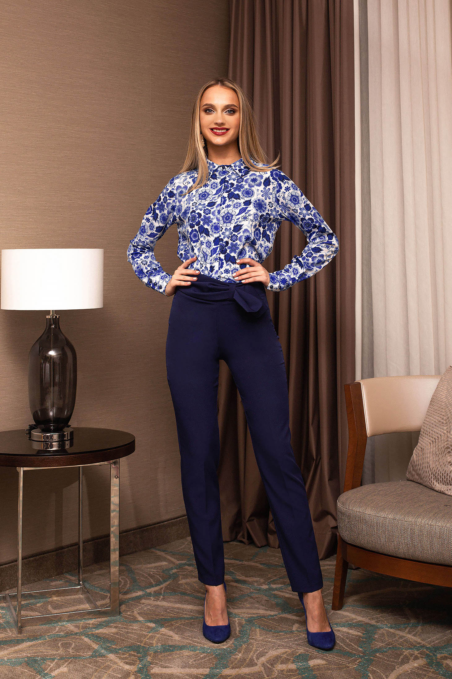 Trousers darkblue office high waisted tied with bow