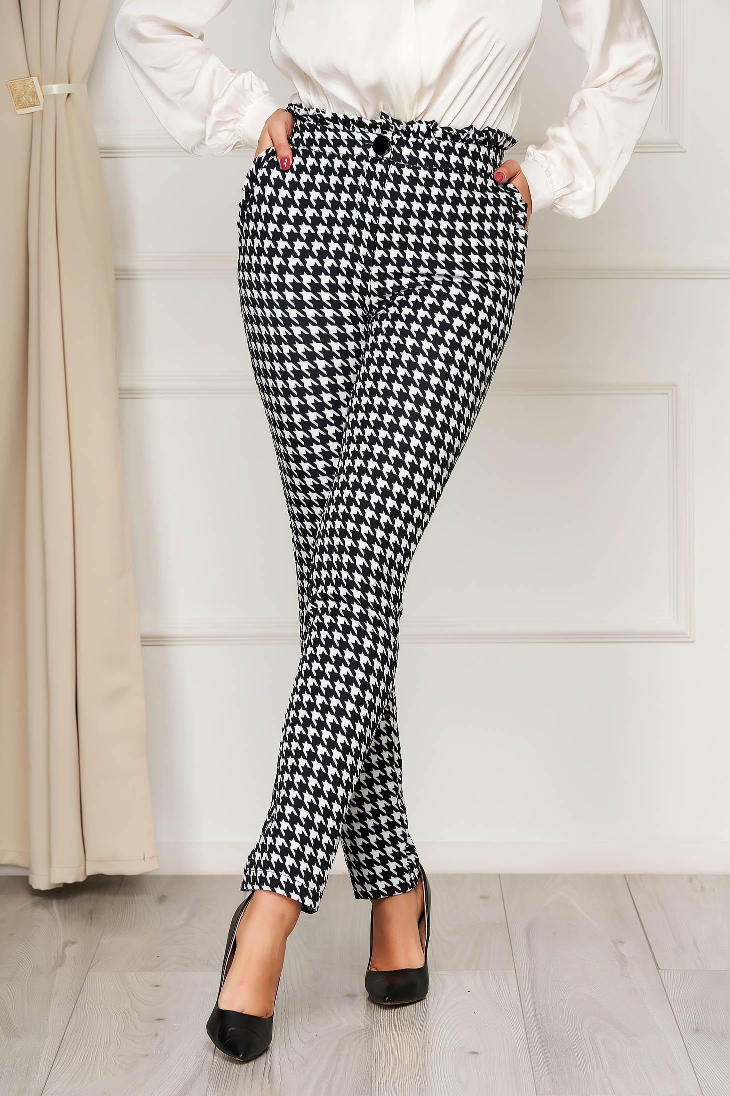 Pantaloni PrettyGirl negri office cu buzunare cu talie inalta si print dogtooth