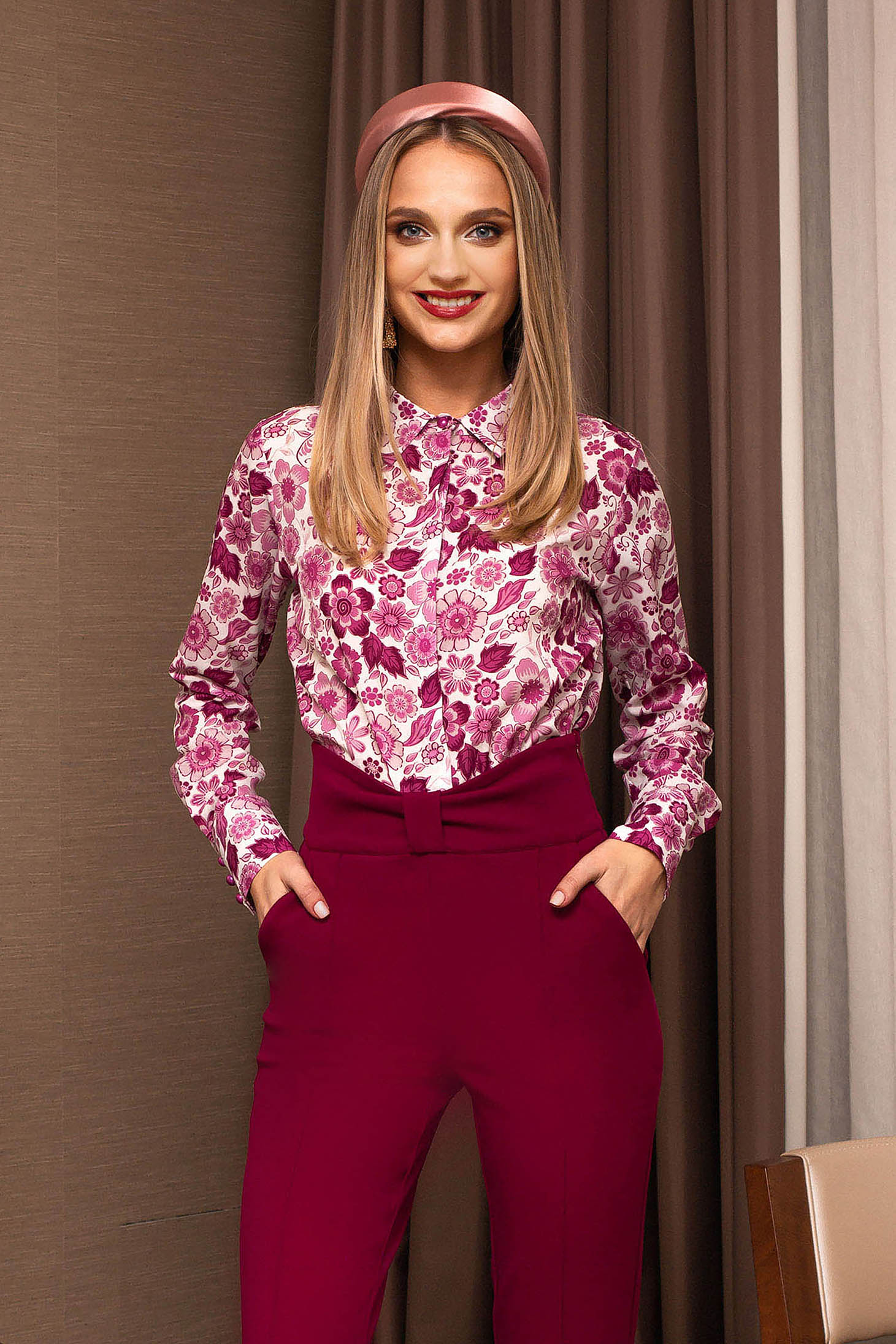 Pink women`s shirt office with floral prints