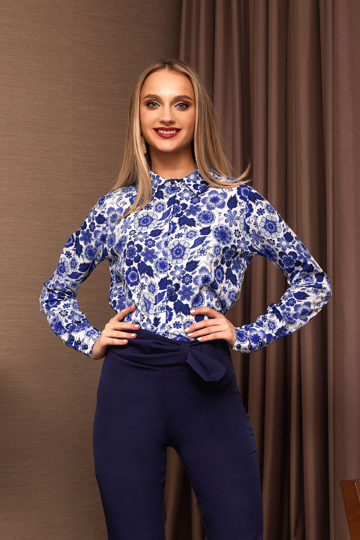 Camasa dama PrettyGirl albastra office cu imprimeuri florale