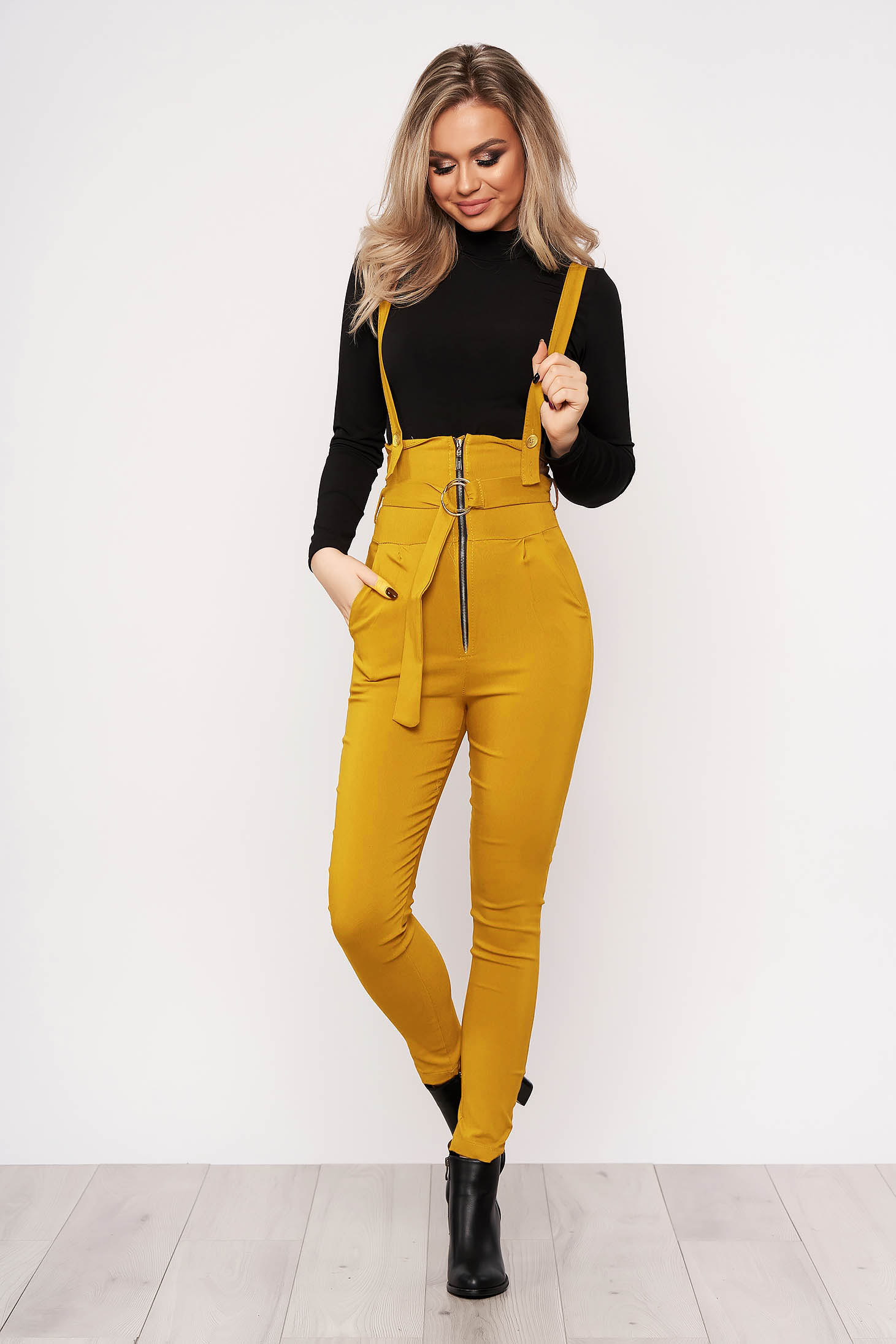 Mustard jumpsuit casual stretch with an accessory zippers