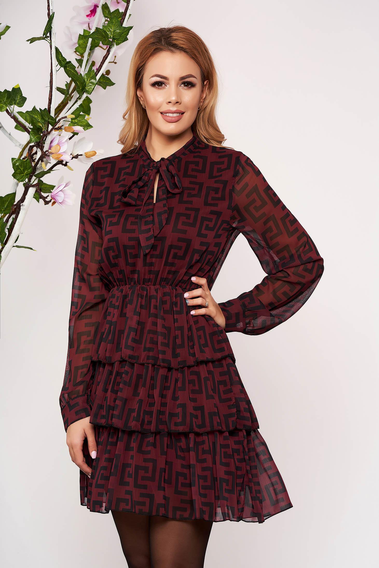 Burgundy dress daily short cut cloche airy fabric long sleeved