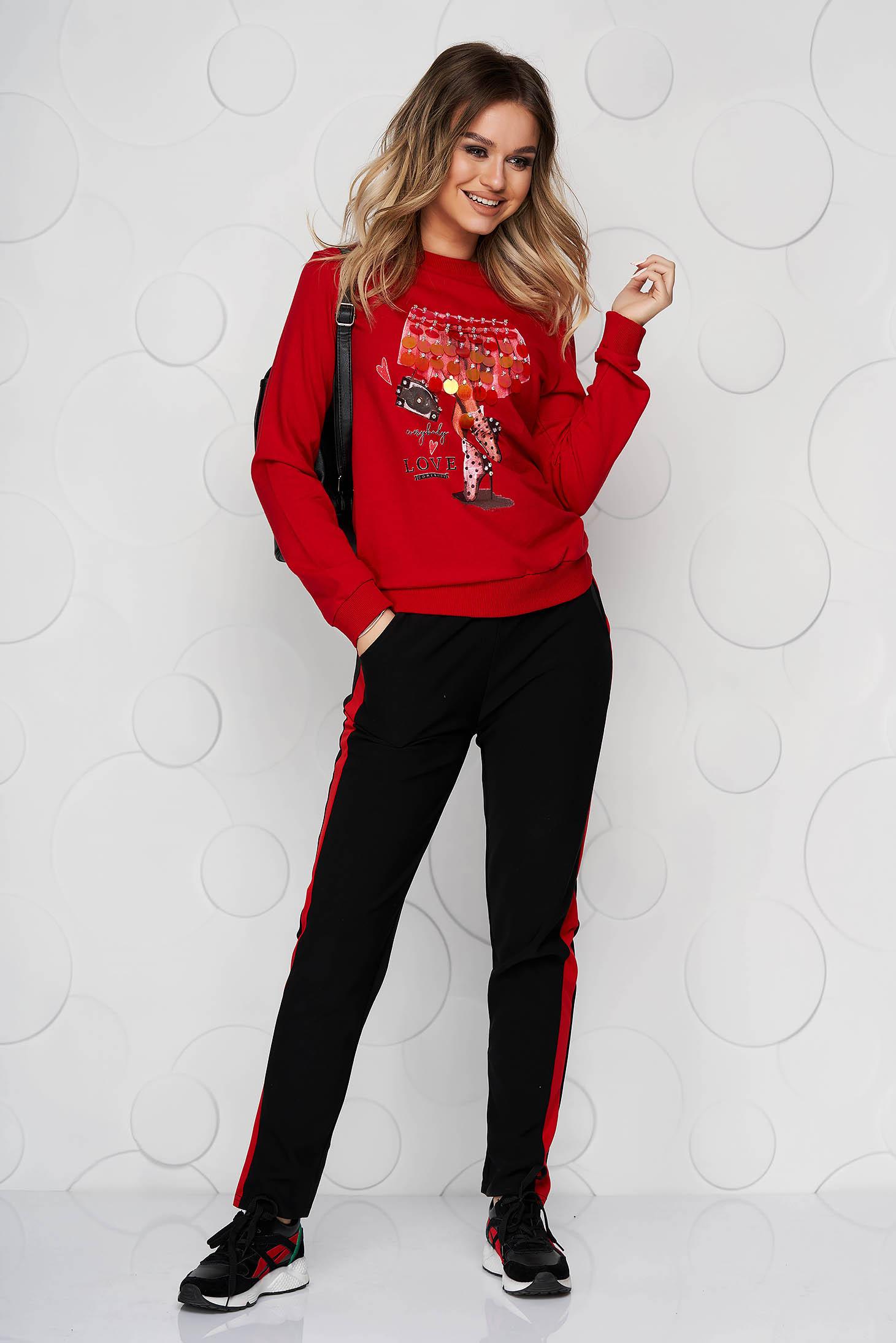 Piros casual derékban zsinóros zsebes gumírozott derekú egyenes nadrág