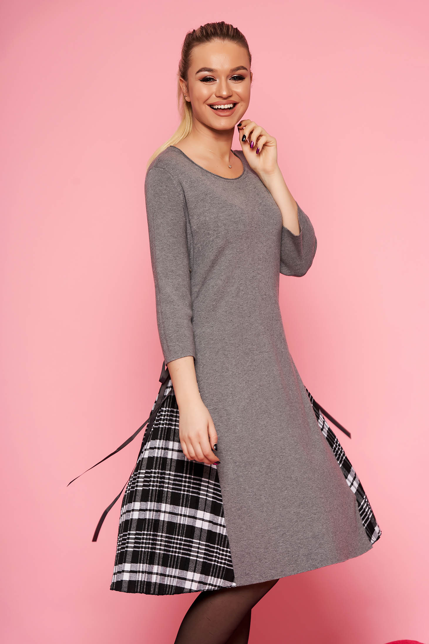 Grey dress casual daily midi cloche without clothing knitted fabric with 3/4 sleeves