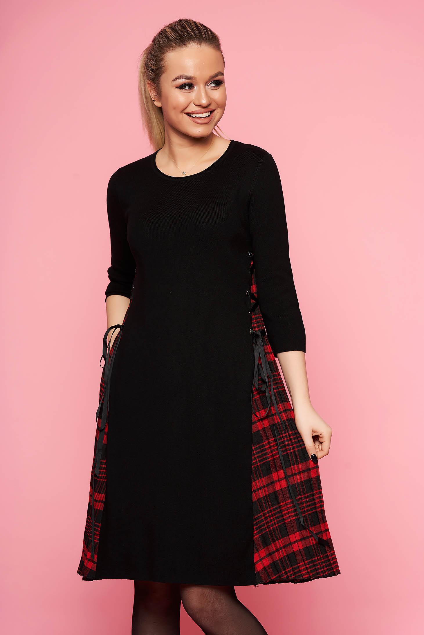 Rochie SunShine rosie casual midi de zi din material tricotat in clos fara captuseala cu maneci trei-sferturi