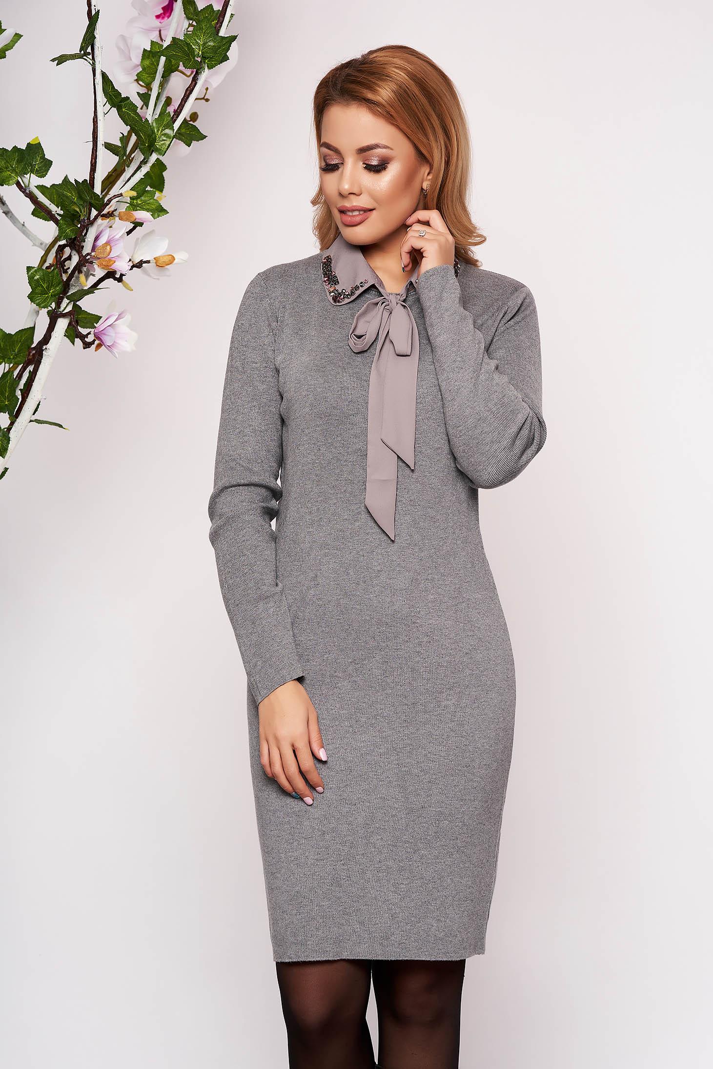 Grey dress elegant short cut knitted pencil detachable collar long sleeved neckline