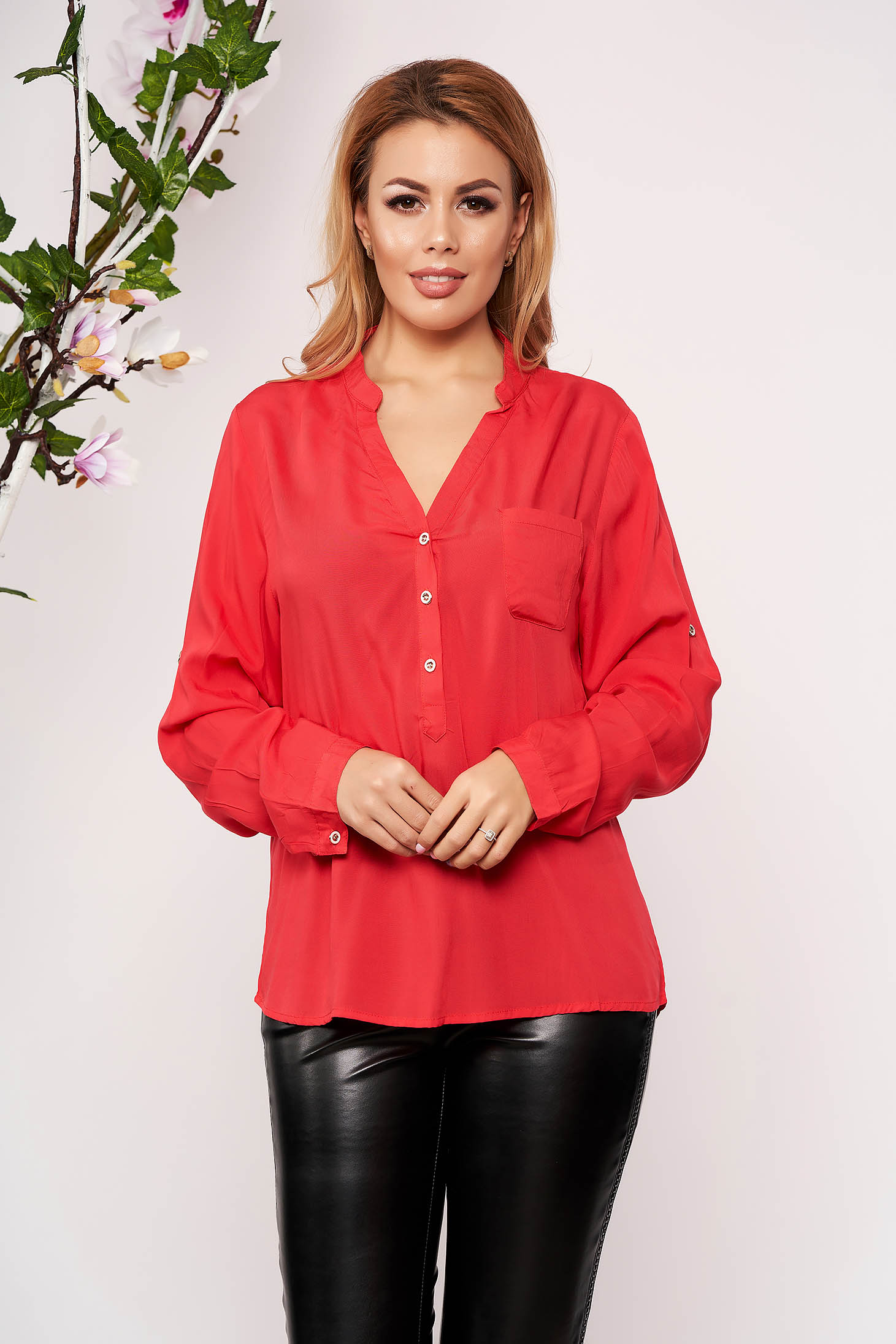 Red women`s shirt office short cut with v-neckline long sleeved thin fabric