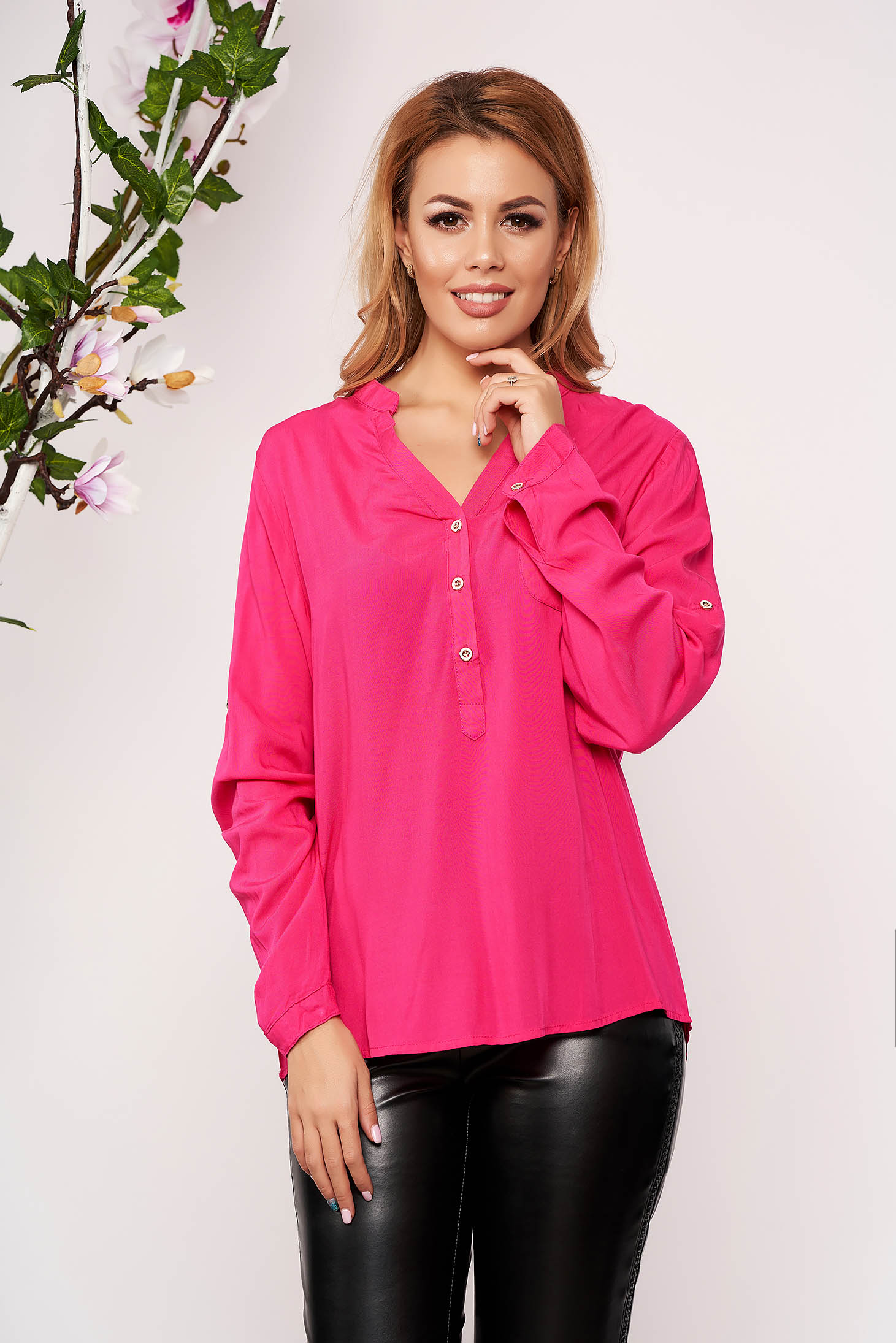 Pink women`s shirt office short cut with v-neckline long sleeved thin fabric