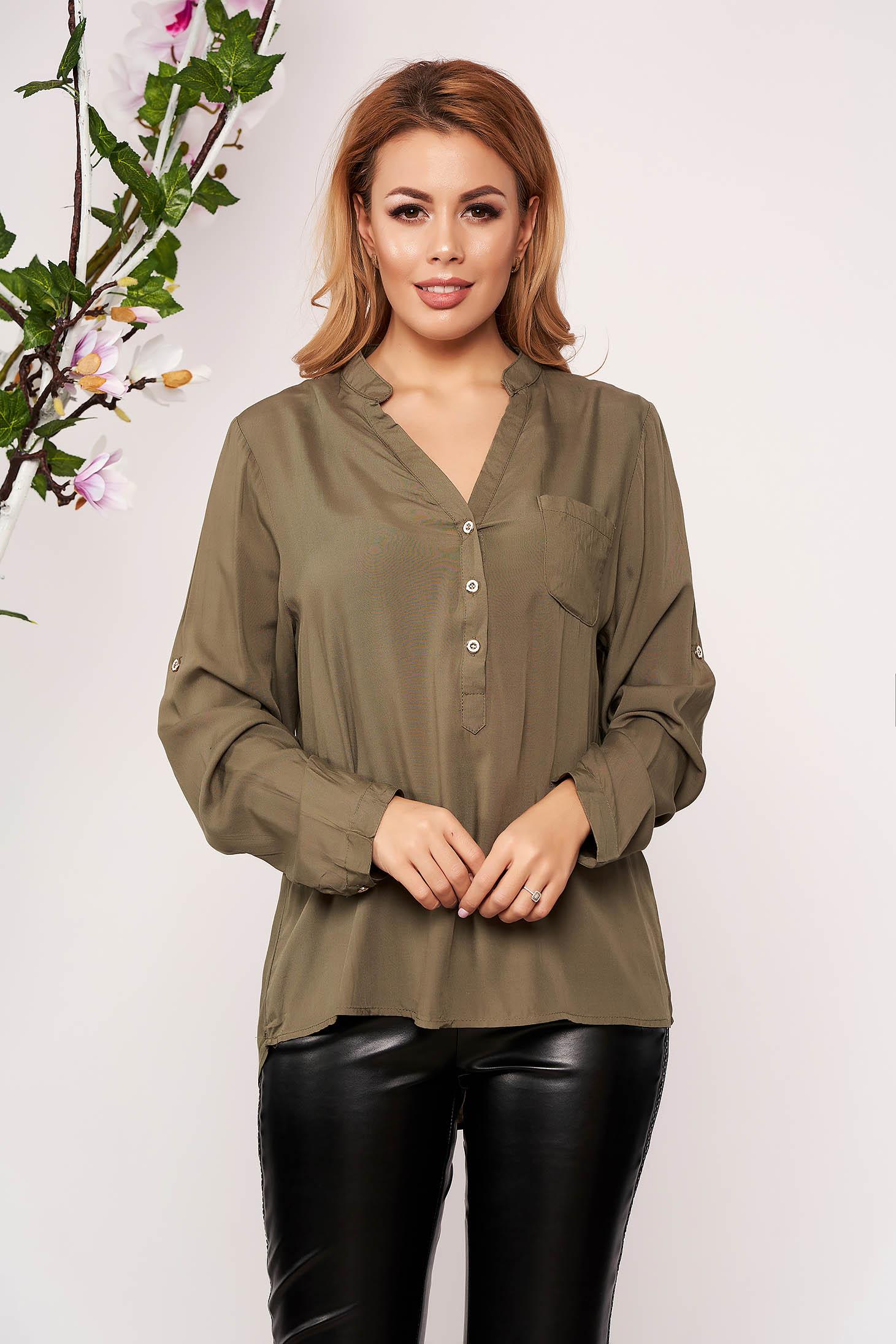Green women`s shirt office short cut with v-neckline long sleeved thin fabric