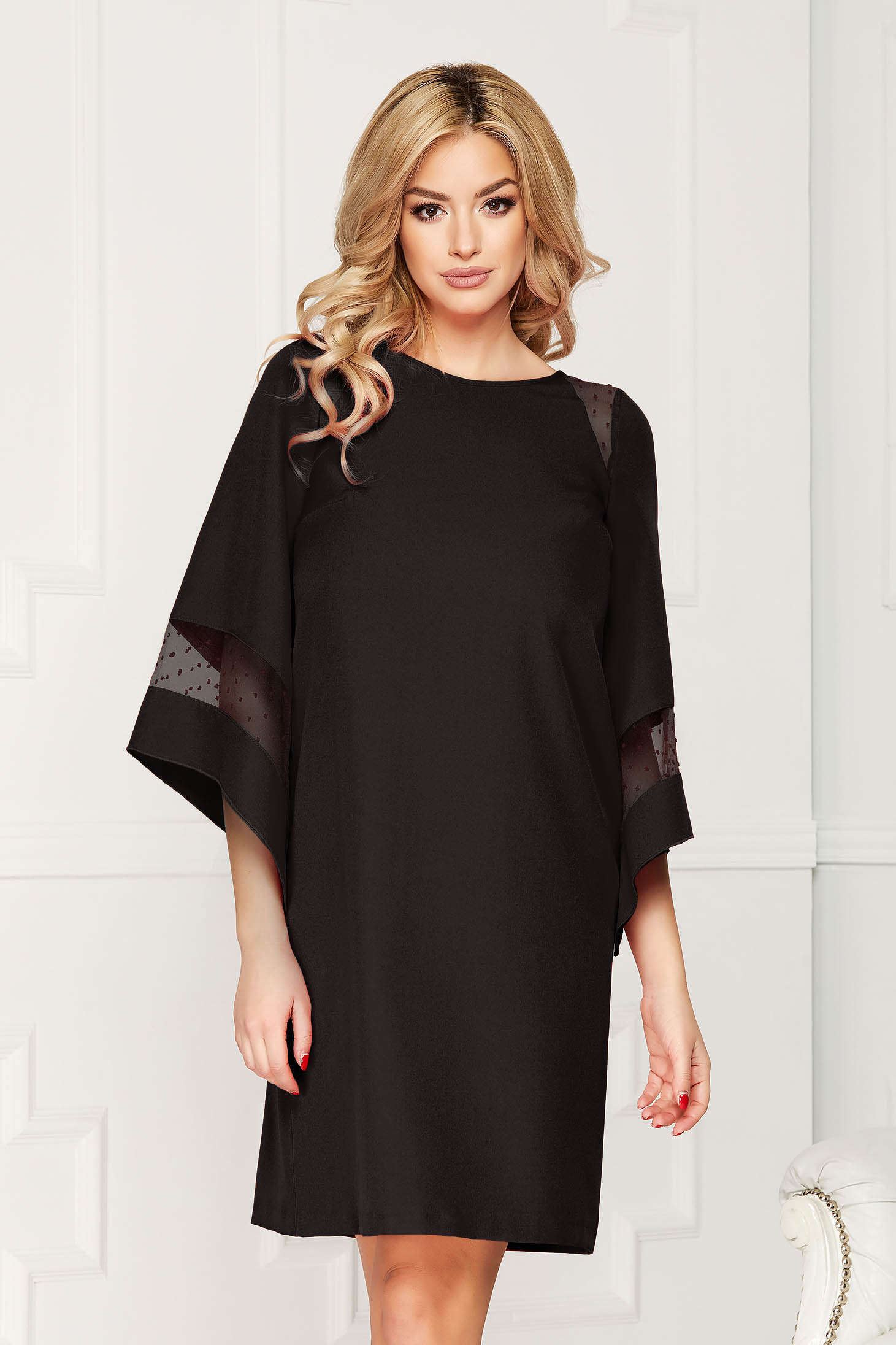 Dress StarShinerS black occasional cloth midi flared cut with inside lining bell sleeves