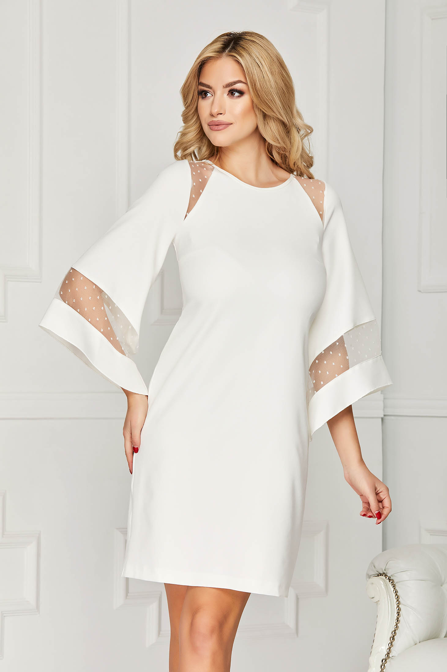 Dress StarShinerS white occasional cloth midi flared cut with inside lining bell sleeves