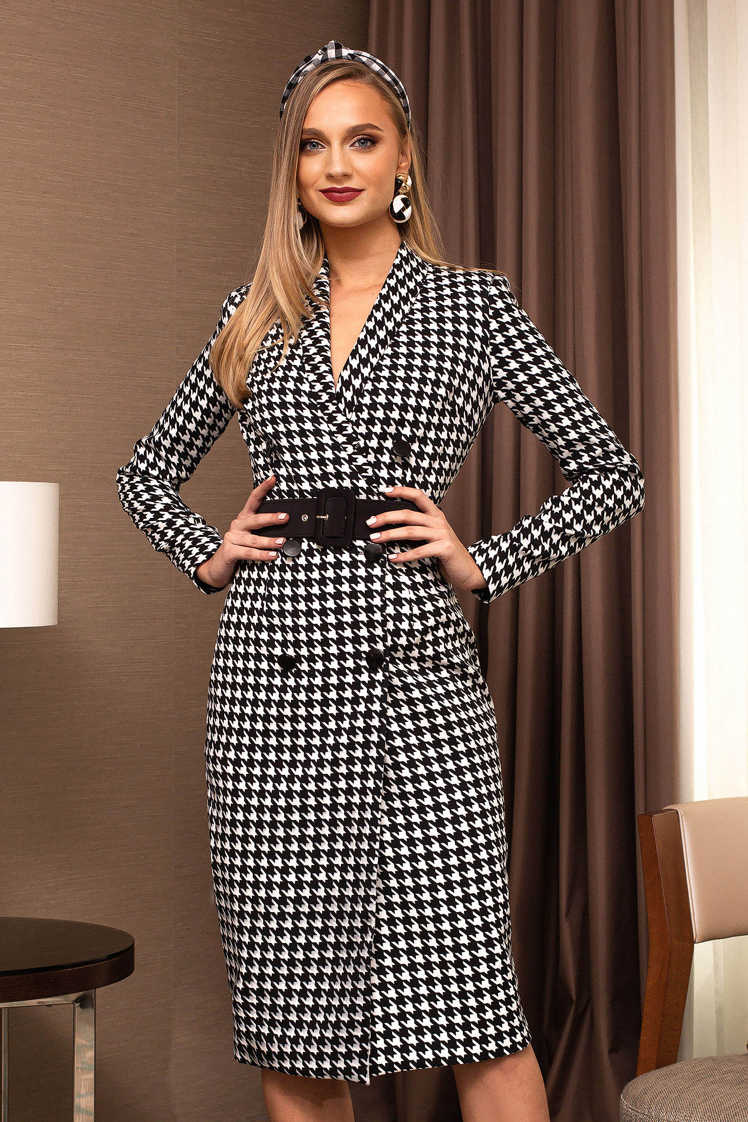 Black dress office midi blazer type cloth long sleeved