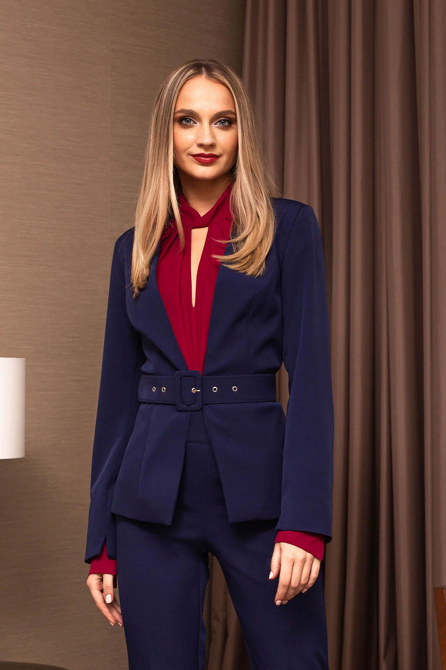 Darkblue jacket elegant blazer accessorized with a waistband short cut long sleeved arched cut