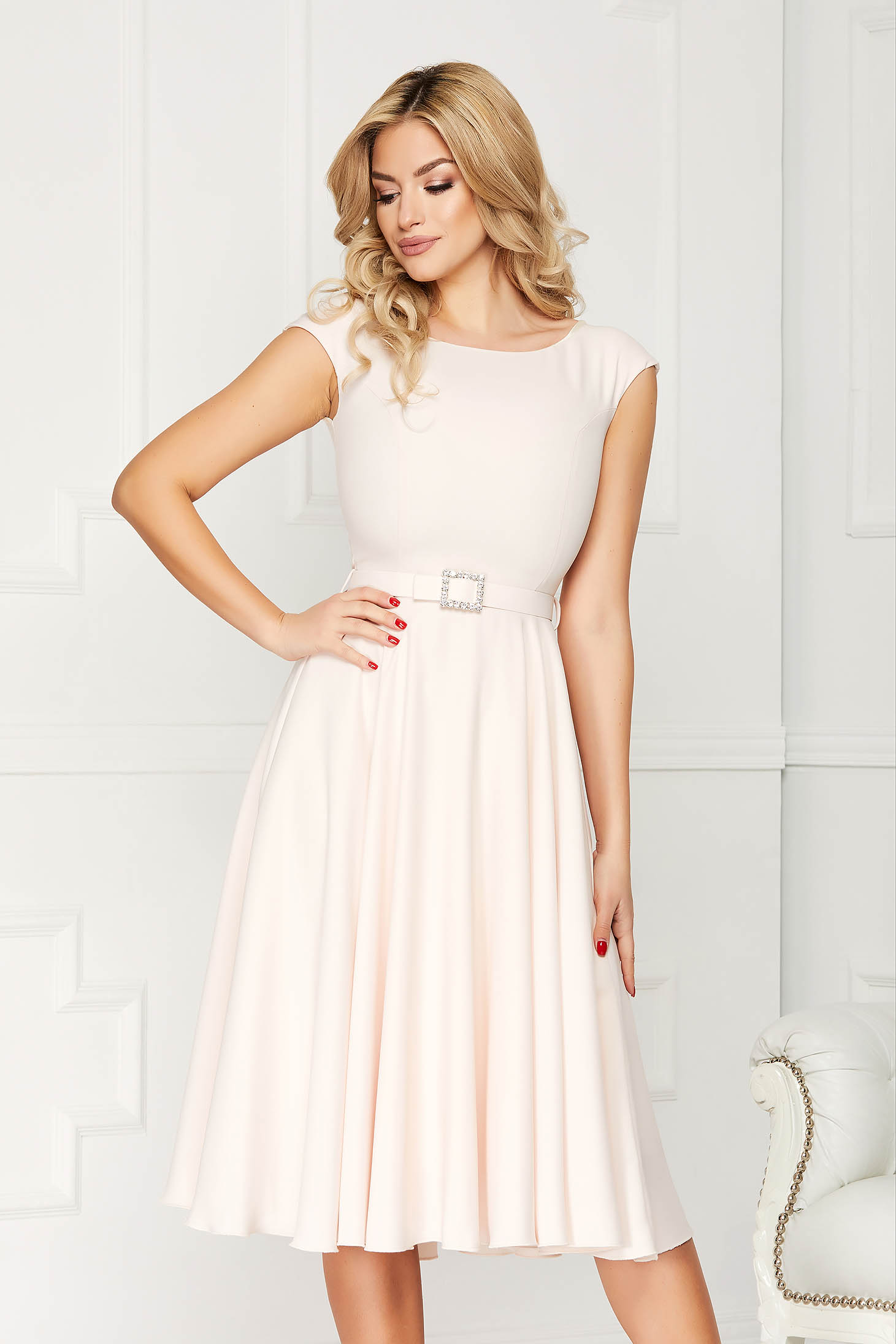 StarShinerS cream dress elegant midi a-line cloth accessorized with a waistband