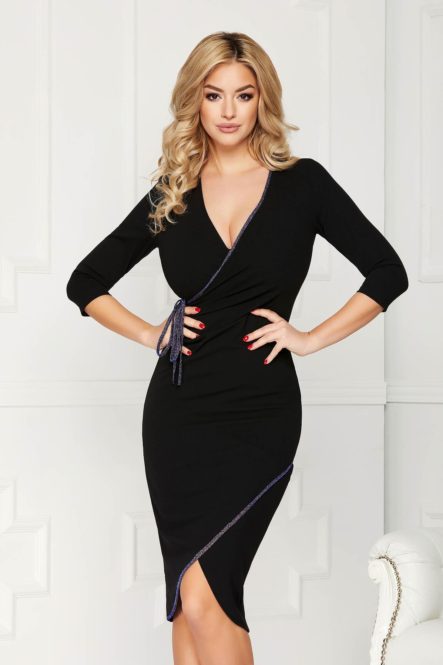 StarShinerS darkblue dress elegant midi pencil with deep cleavage