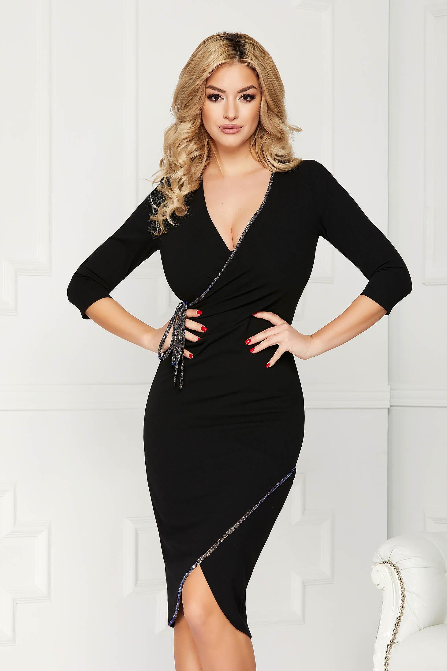 StarShinerS black dress elegant midi pencil with deep cleavage