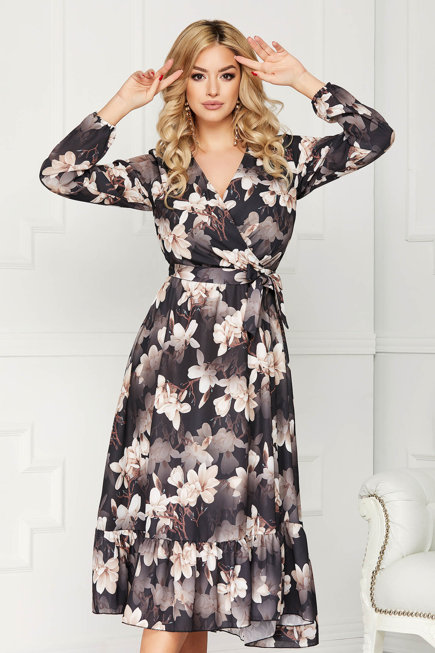 StarShinerS black dress office midi cloche with floral prints accessorized with tied waistband
