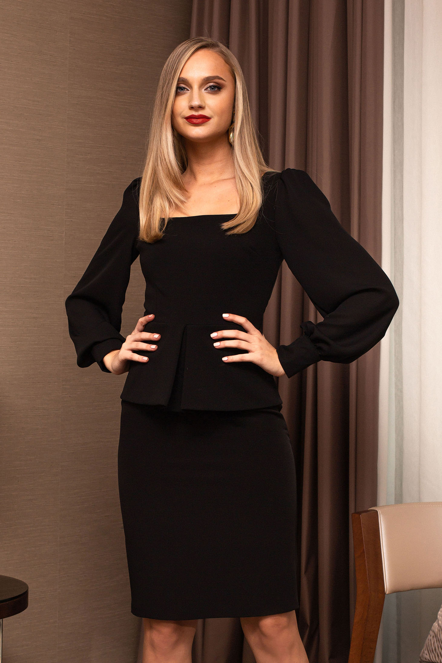Black women`s blouse office long sleeve with puffed sleeves peplum