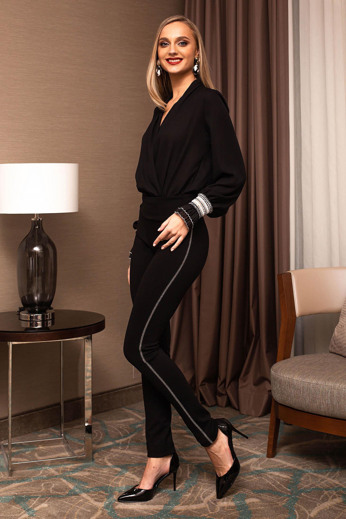 Colanti PrettyGirl negri eleganti din stofa usor elastica cu aplicatii cu pietre strass