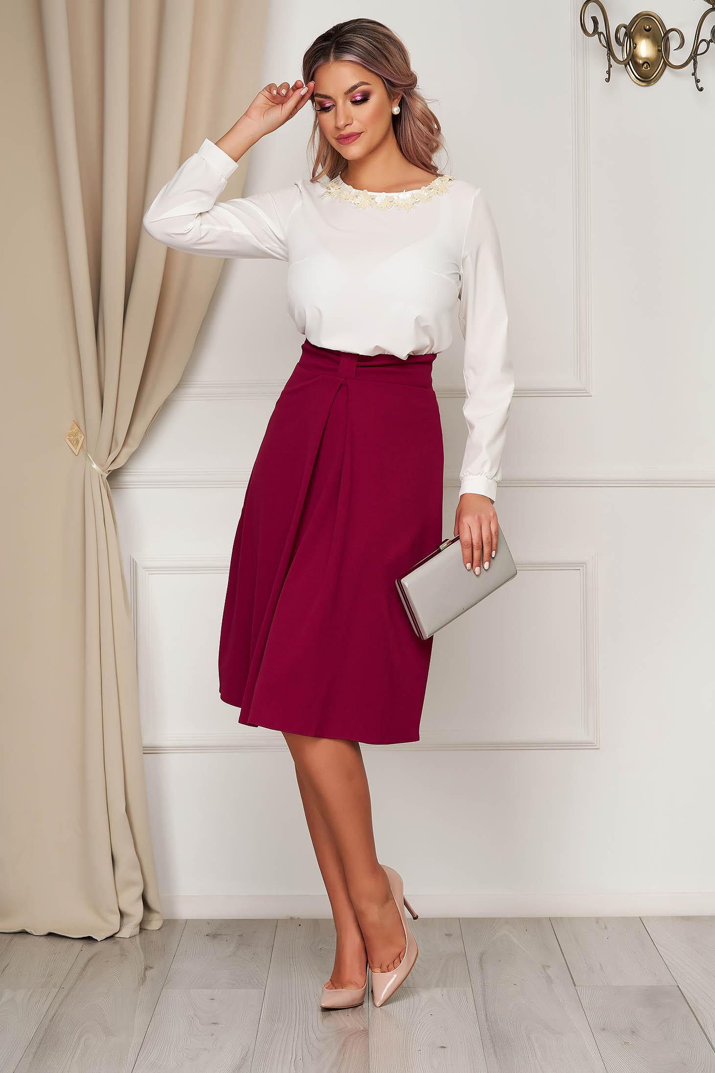 Fuchsia skirt elegant midi cloche cloth with bow with inside lining