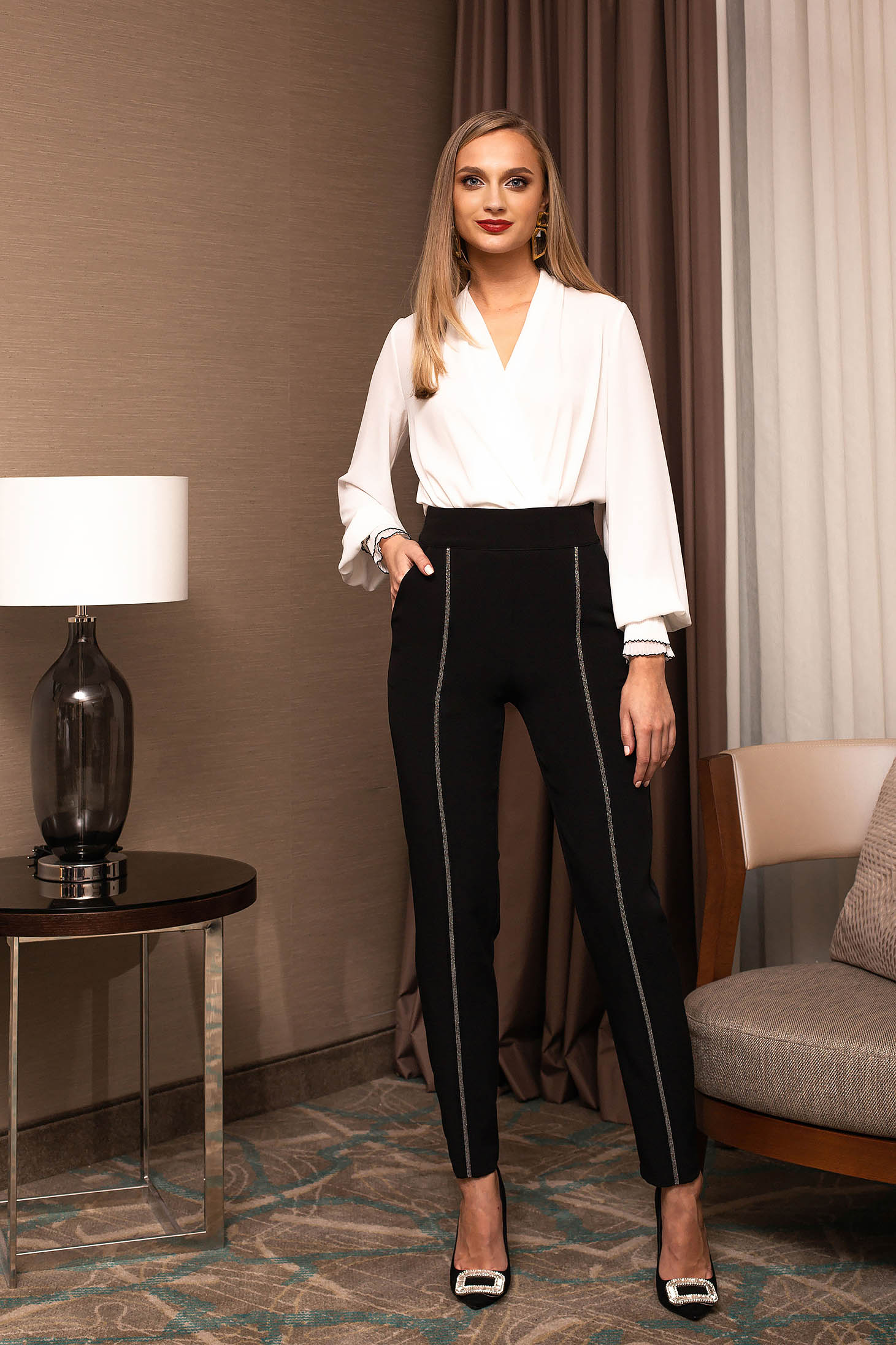 Black trousers elegant with crystal embellished details slightly elastic fabric conical